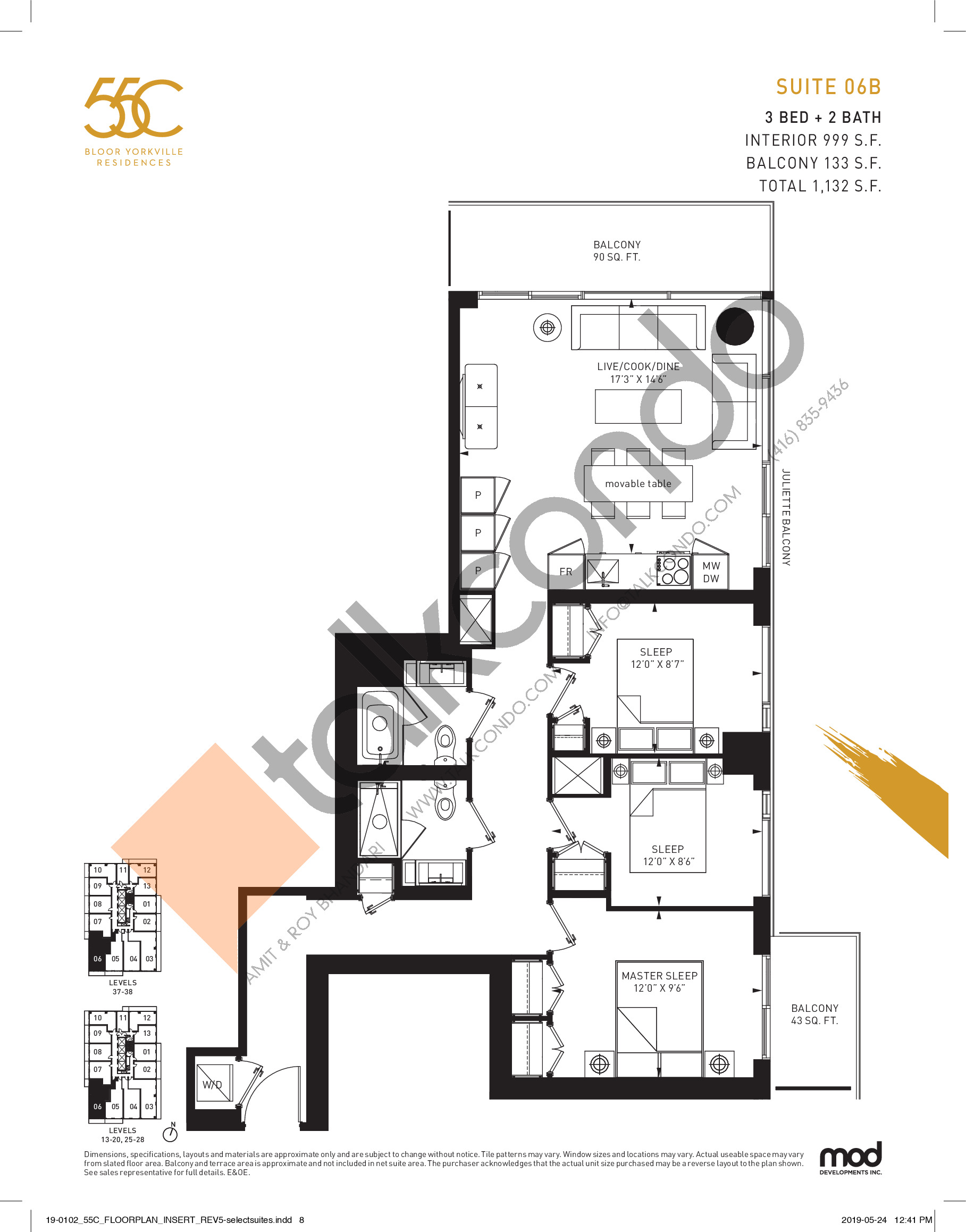 Suite 06B Floor Plan at 55C Condos - 999 sq.ft