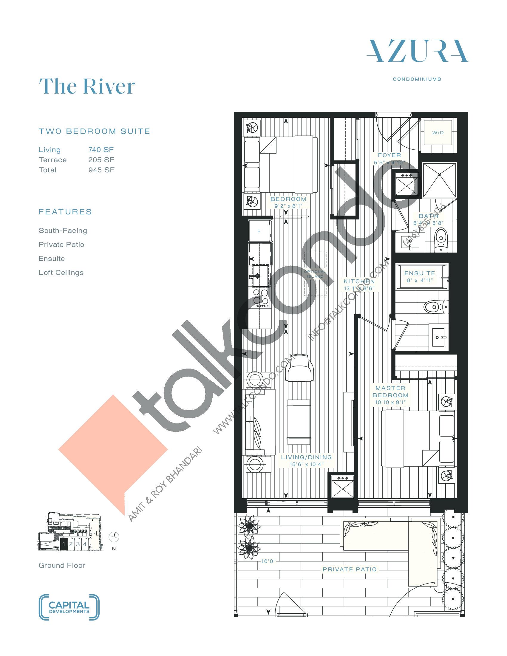 The River Floor Plan at Azura Condos - 740 sq.ft