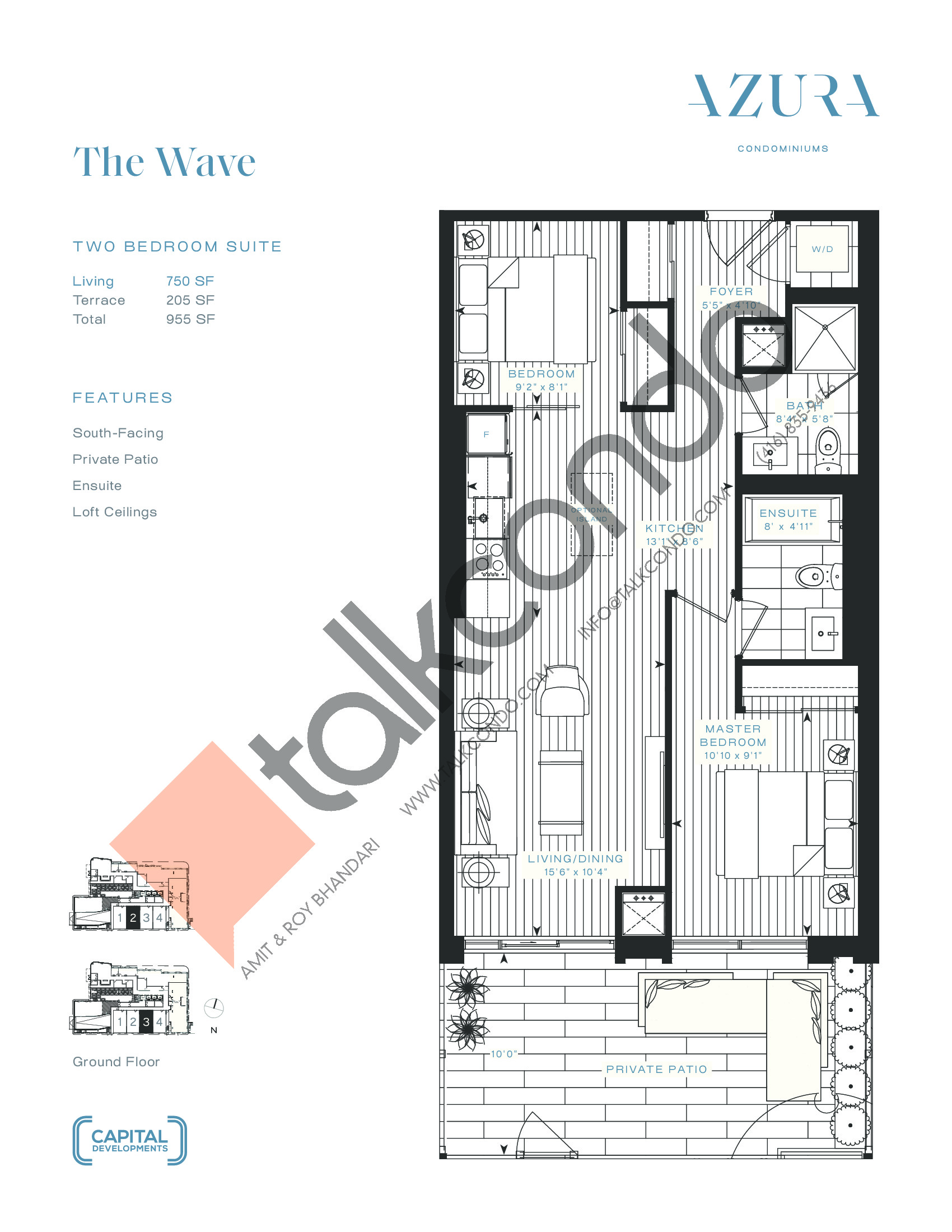 The Wave Floor Plan at Azura Condos - 750 sq.ft