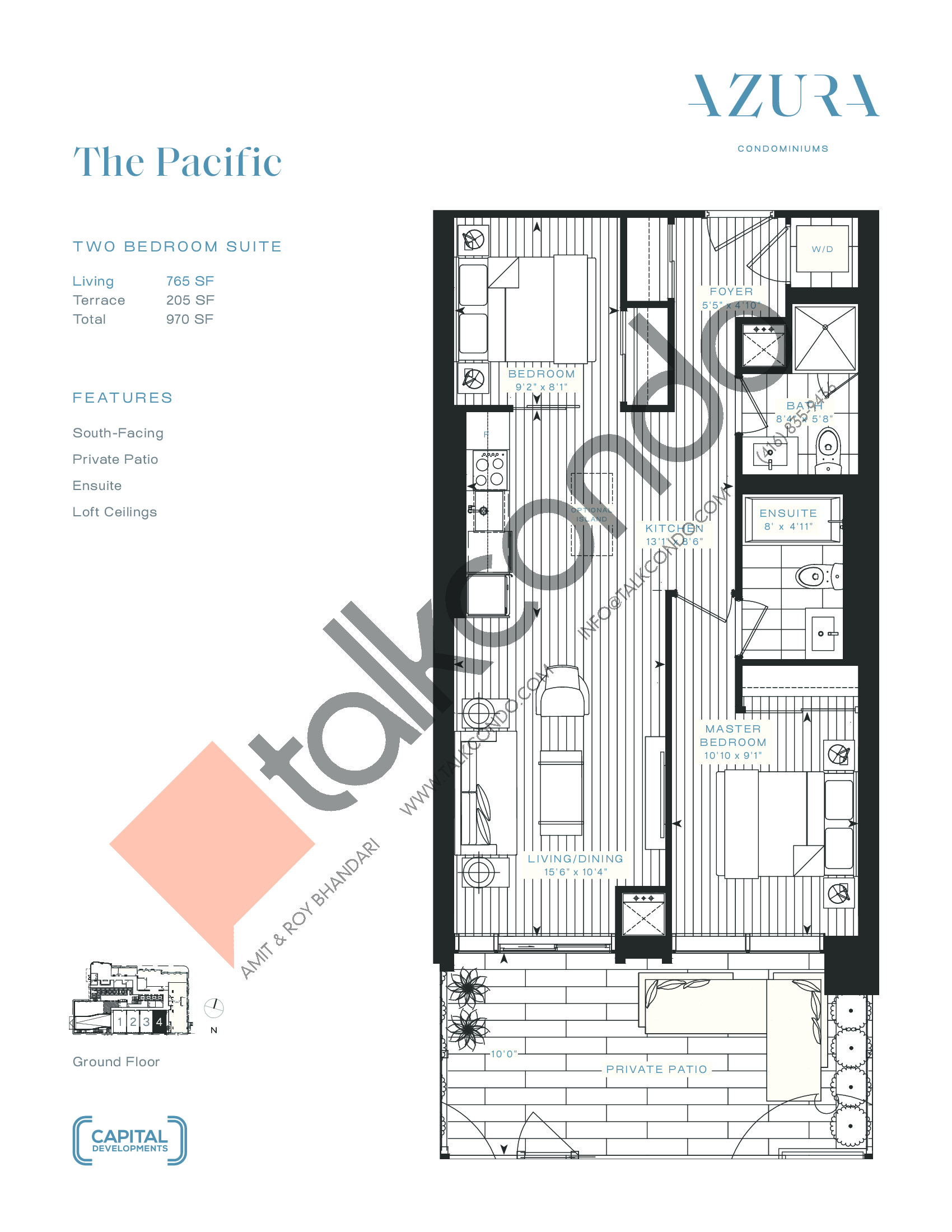 The Pacific Floor Plan at Azura Condos - 765 sq.ft