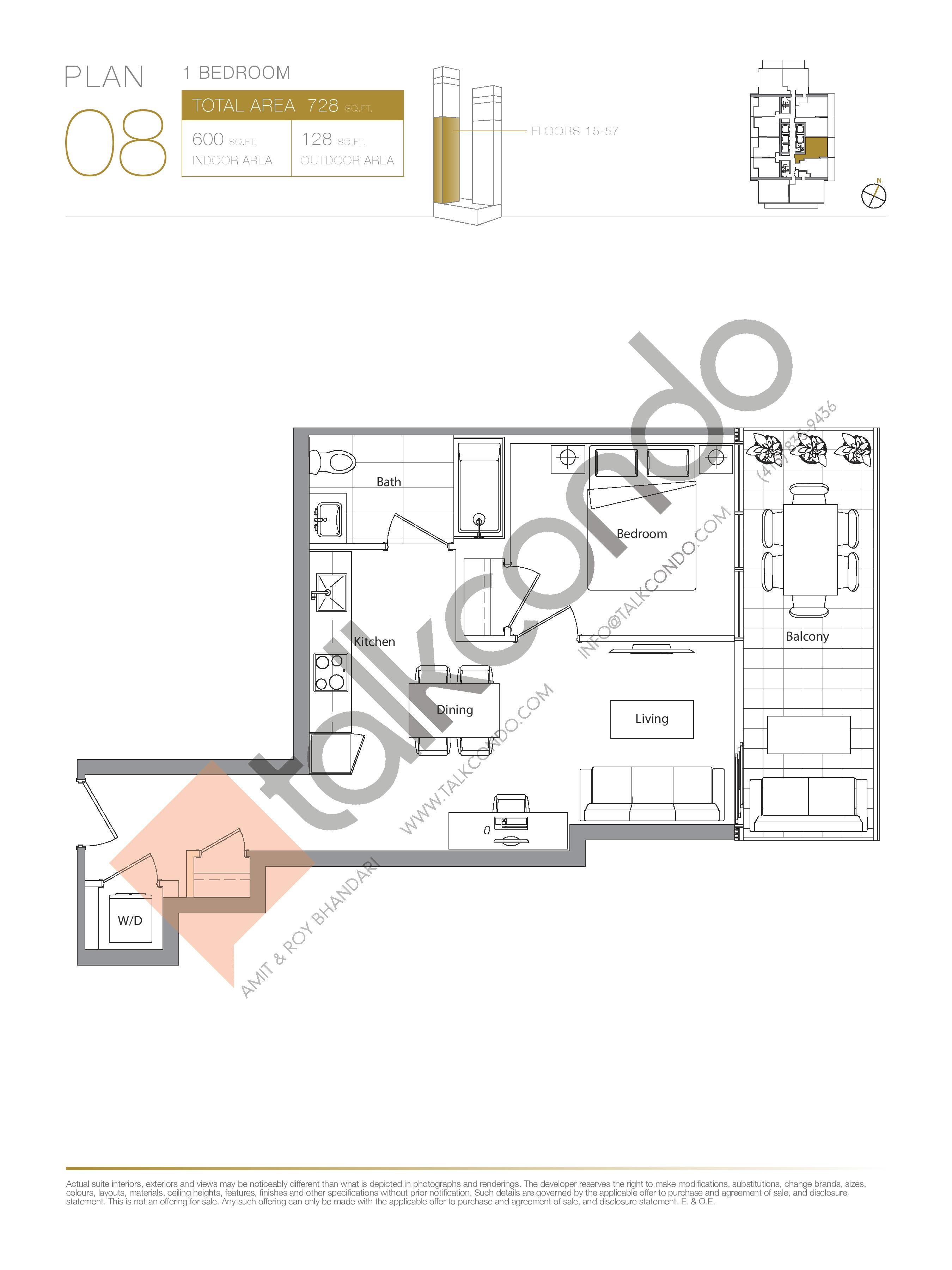 Plan 08 (New Release) Lower Floor Plan at Concord Canada House Condos - 600 sq.ft