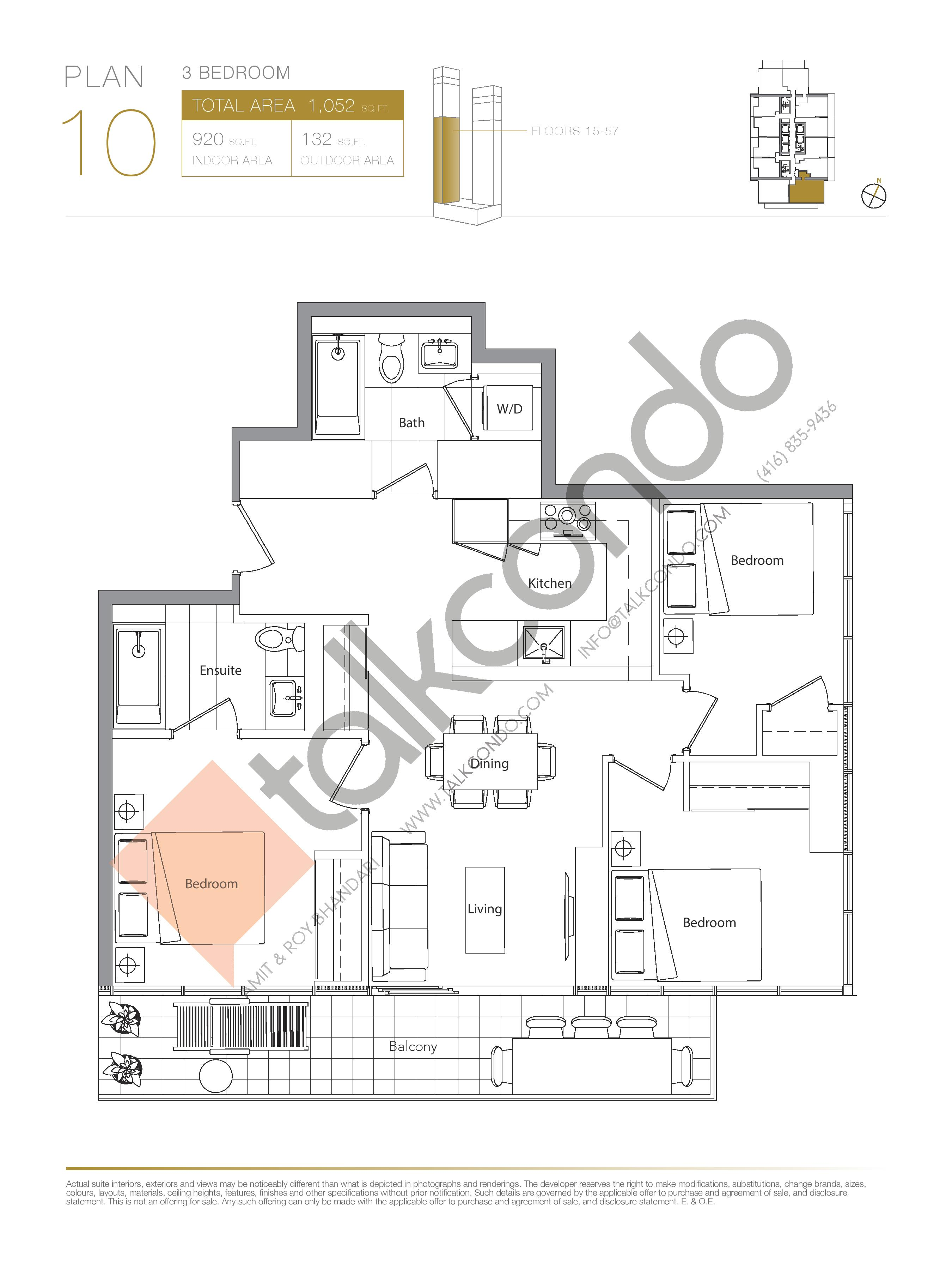 Plan 10 (New Release) Lower Floor Plan at Concord Canada House Condos - 920 sq.ft