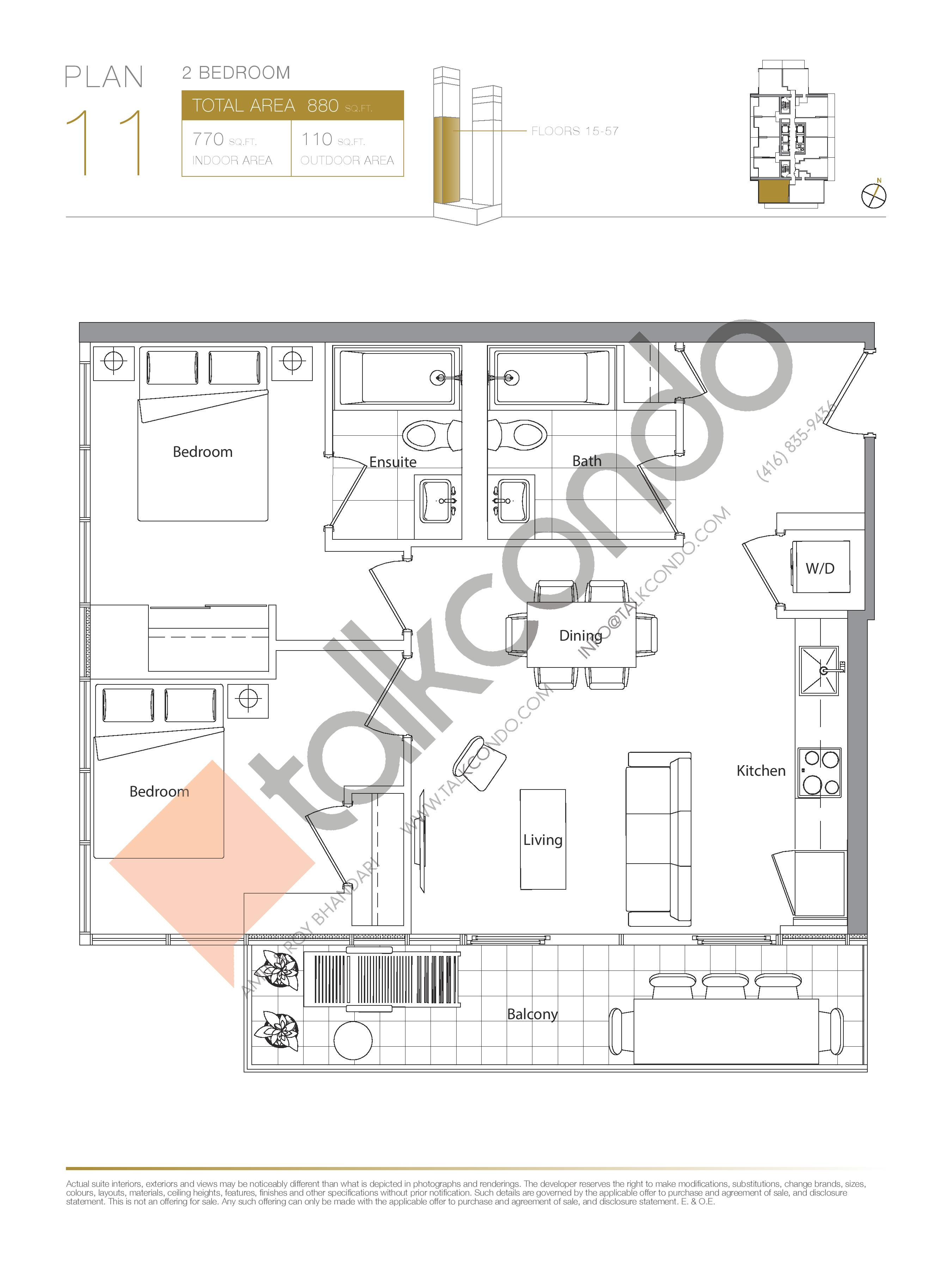 Plan 11 (New Release) Lower Floor Plan at Concord Canada House Condos - 770 sq.ft