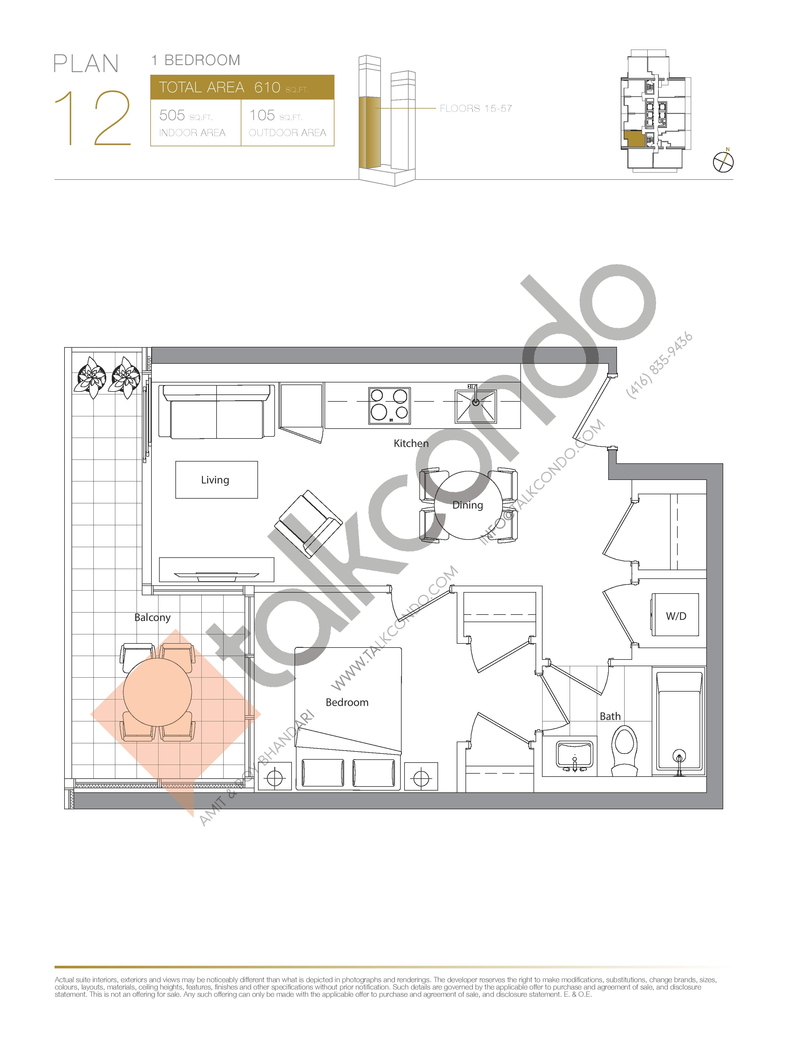 Plan 12 (New Release) Lower Floor Plan at Concord Canada House Condos - 505 sq.ft