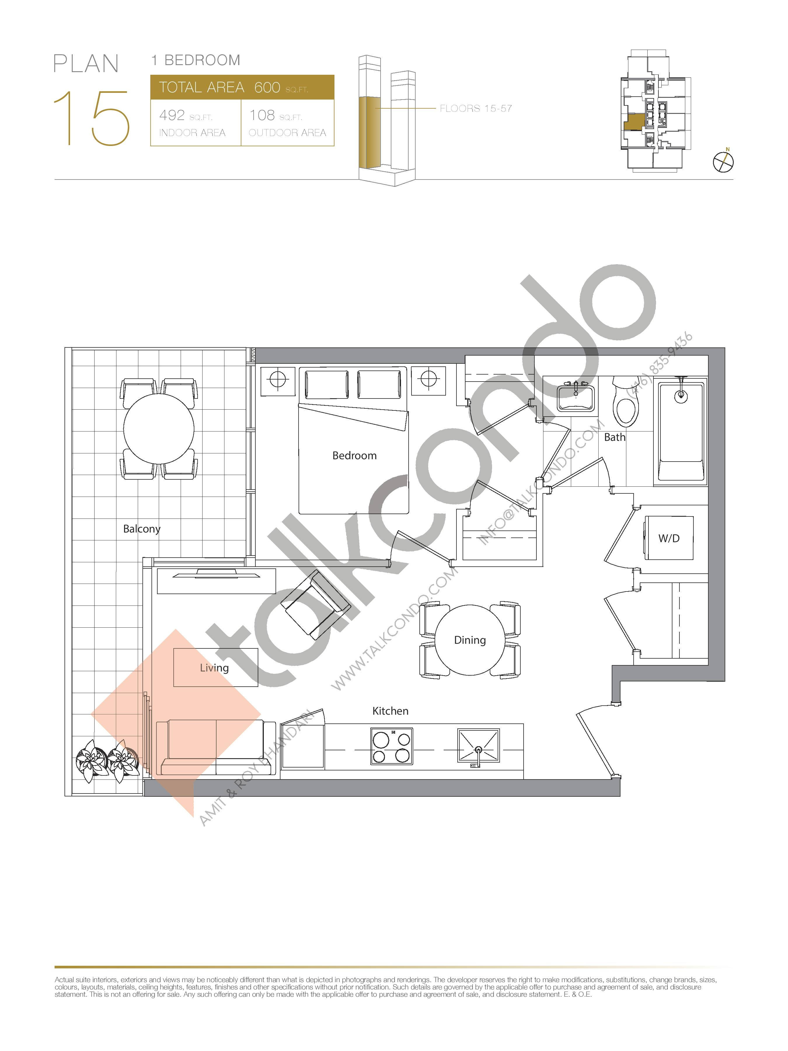 Plan 15 (New Release) Lower Floor Plan at Concord Canada House Condos - 492 sq.ft