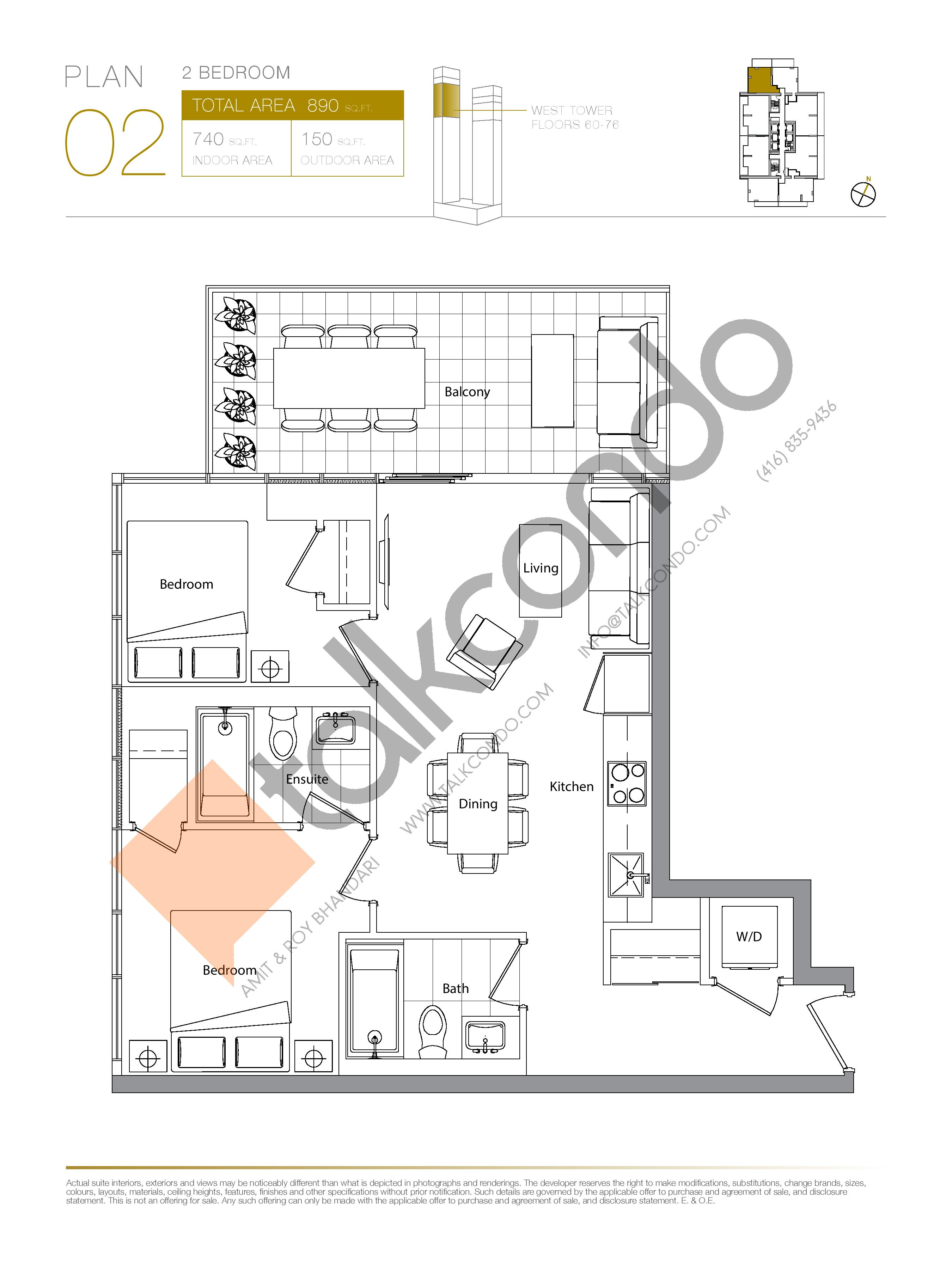 Plan 02 (New Release) Upper Floor Plan at Concord Canada House Condos - 740 sq.ft