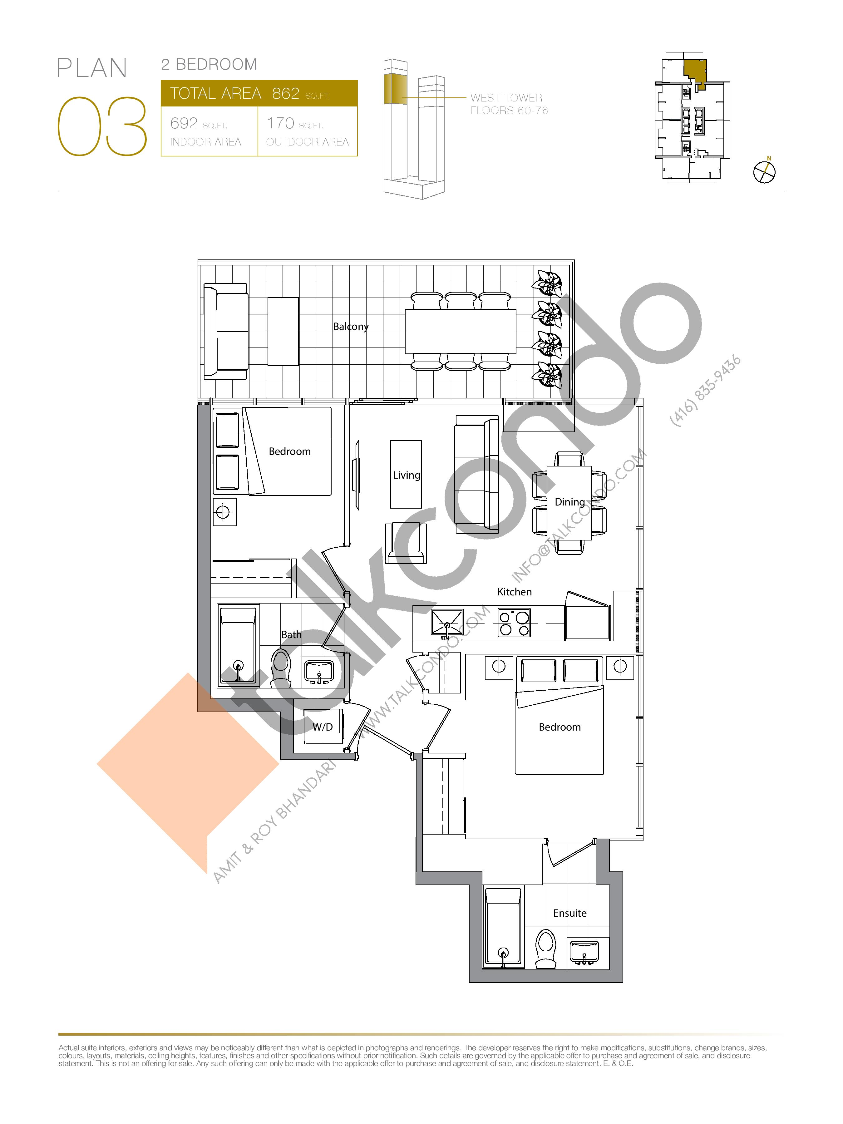 Plan 03 (New Release) Upper Floor Plan at Concord Canada House Condos - 692 sq.ft