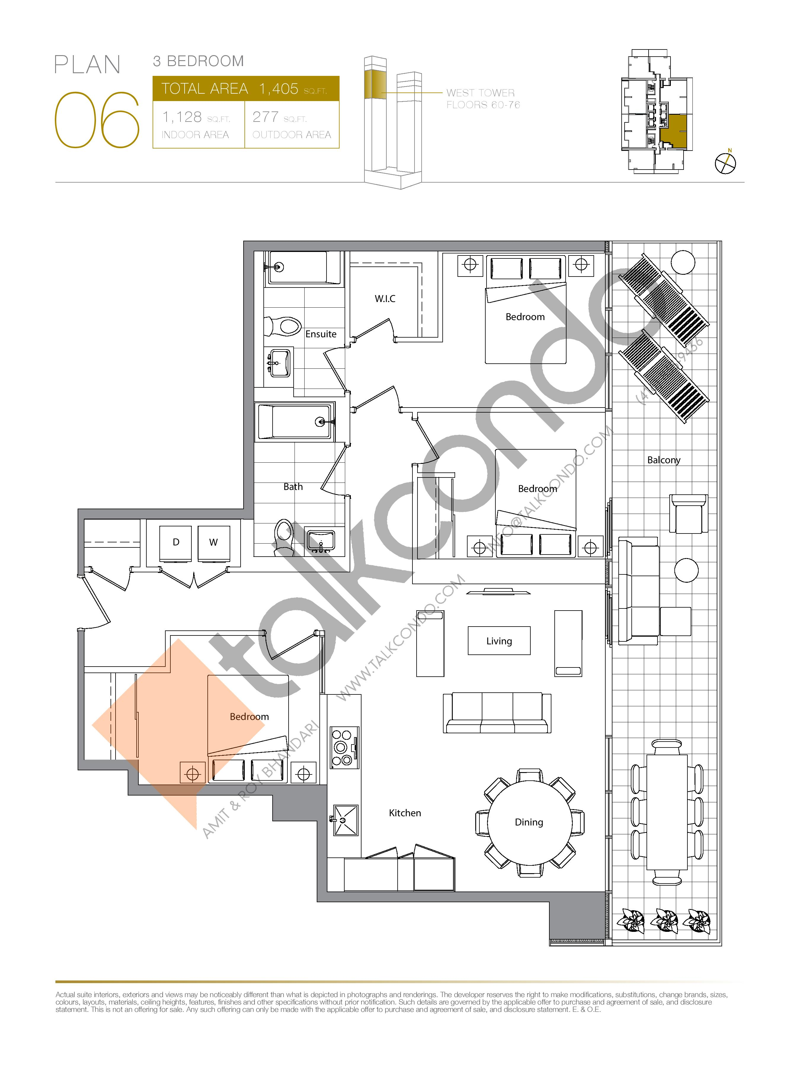 Plan 06 (New Release) Upper Floor Plan at Concord Canada House Condos - 1128 sq.ft
