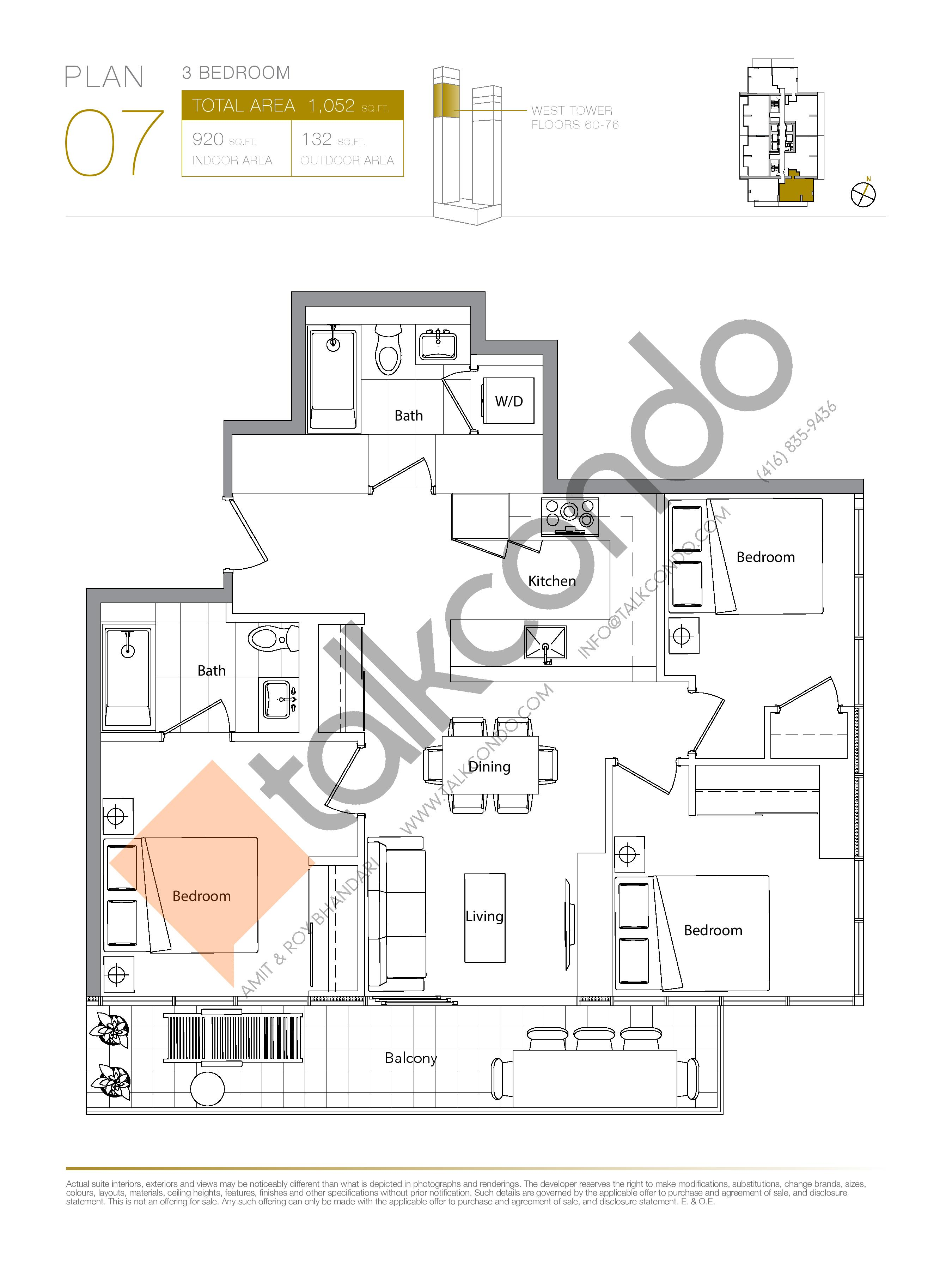 Plan 07 (New Release) Upper Floor Plan at Concord Canada House Condos - 920 sq.ft