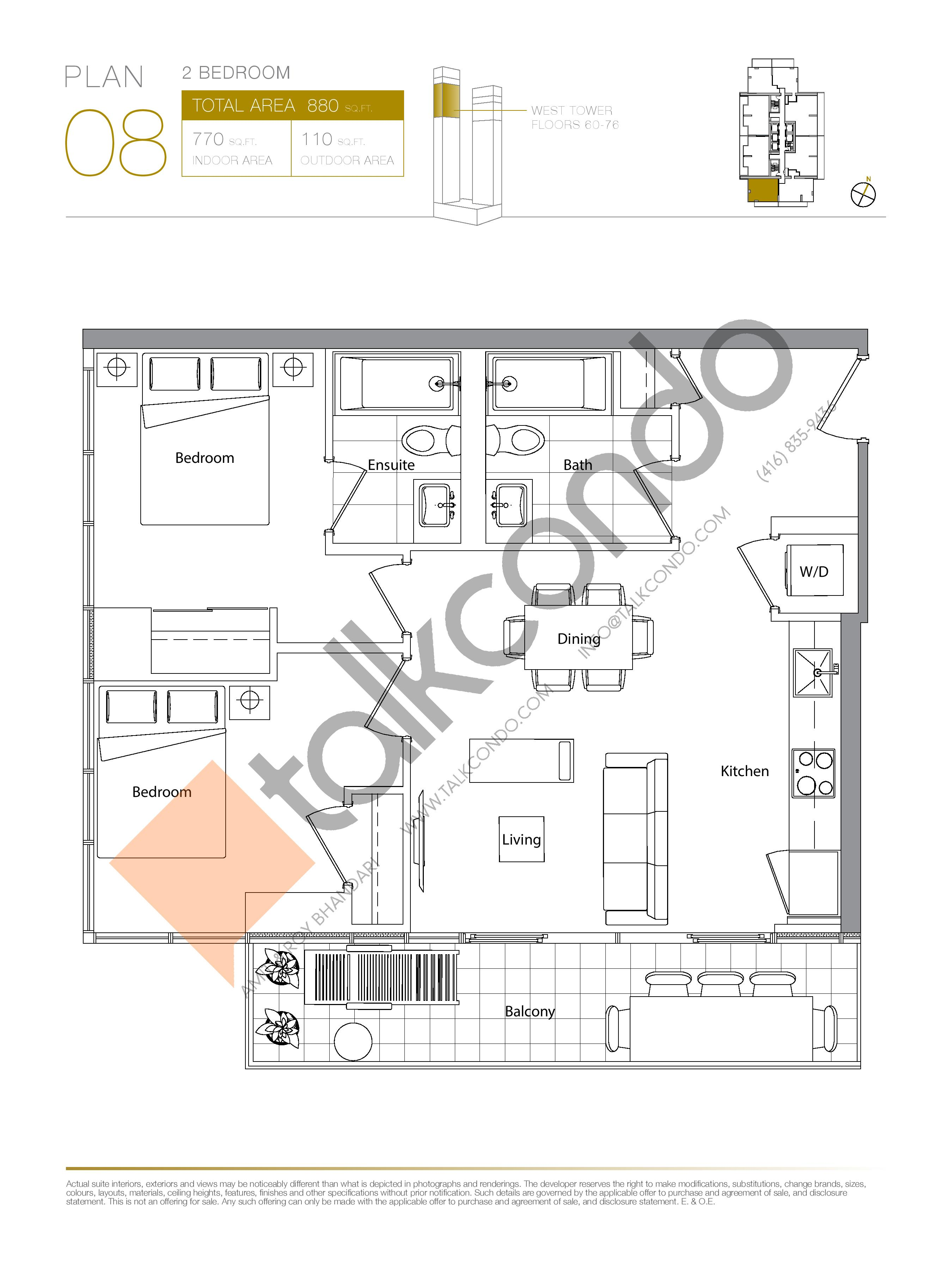 Plan 08 (New Release) Upper Floor Plan at Concord Canada House Condos - 770 sq.ft