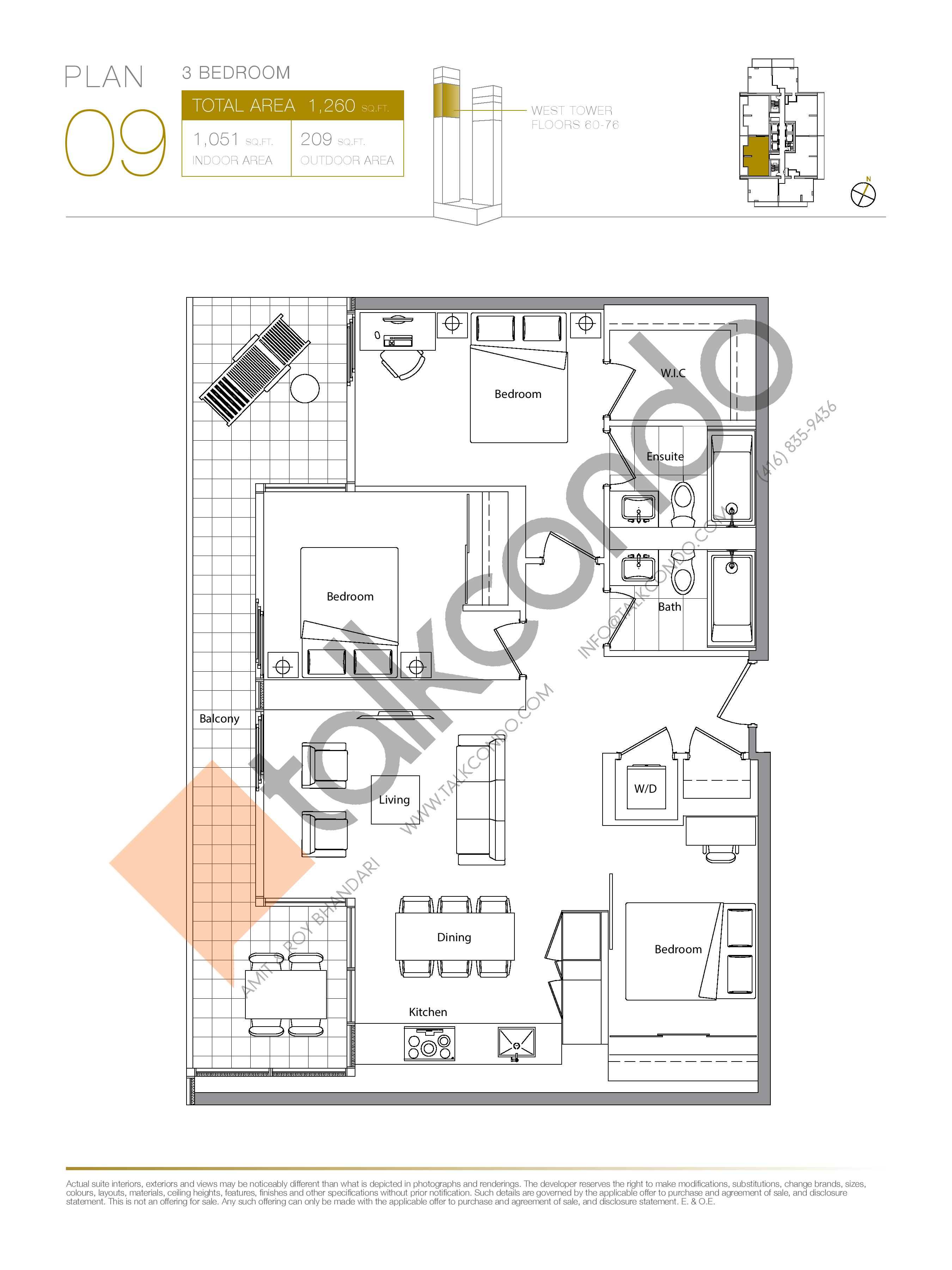 Plan 09 (New Release) Upper Floor Plan at Concord Canada House Condos - 1051 sq.ft