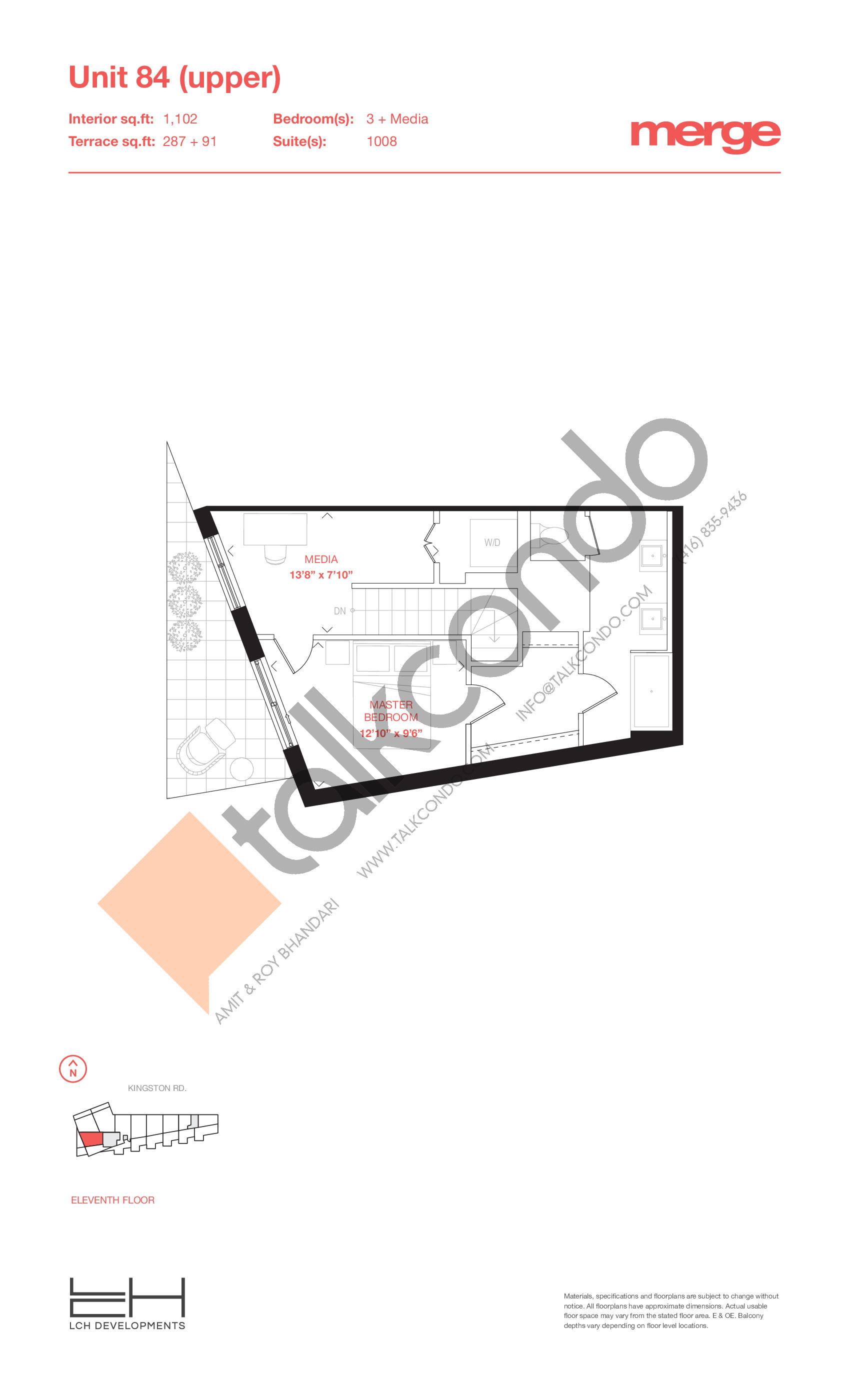 Unit 84 (Upper) - 2 Storey Floor Plan at Merge Condos - 1102 sq.ft