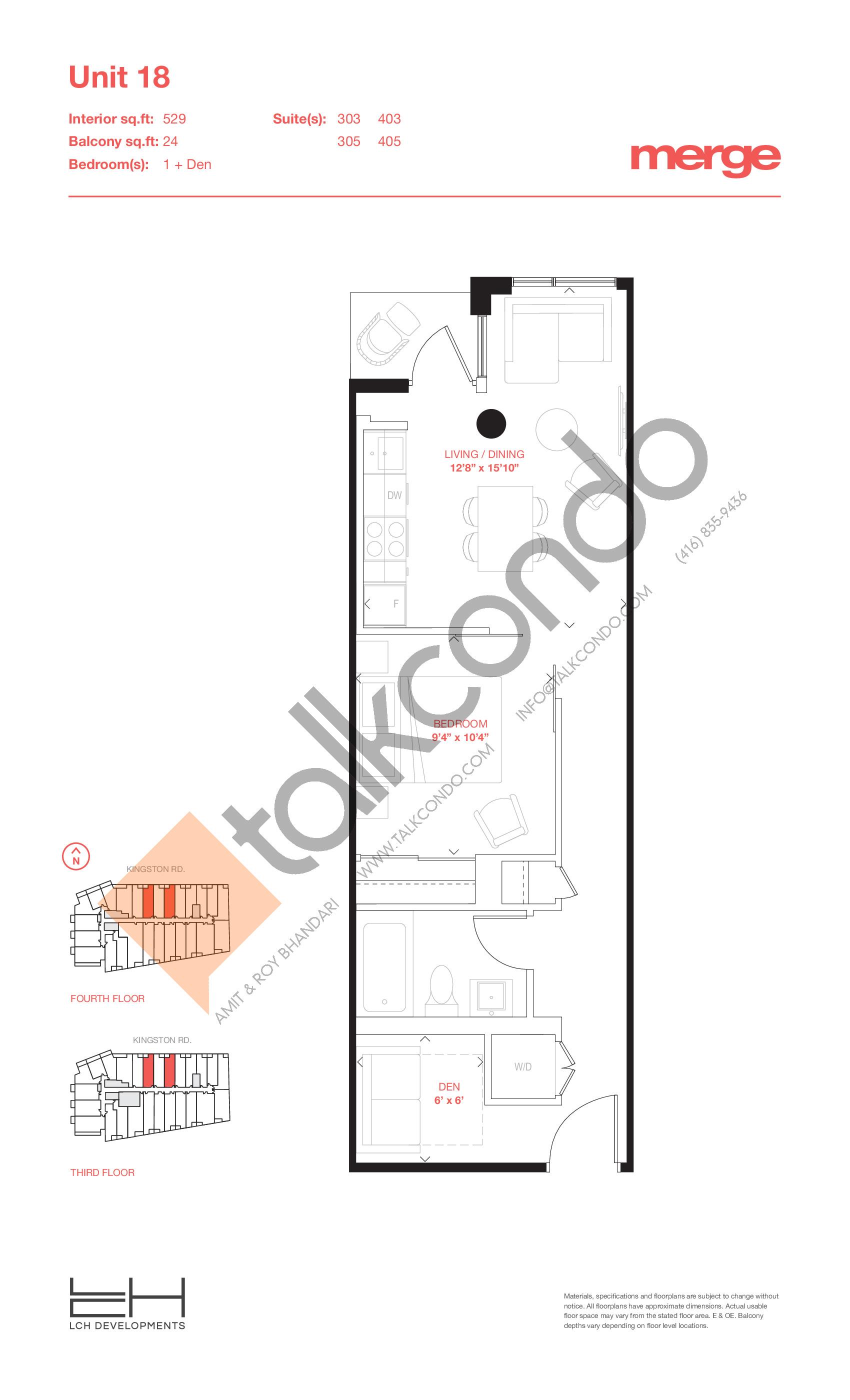 Unit 18 - Tower Floor Plan at Merge Condos - 529 sq.ft