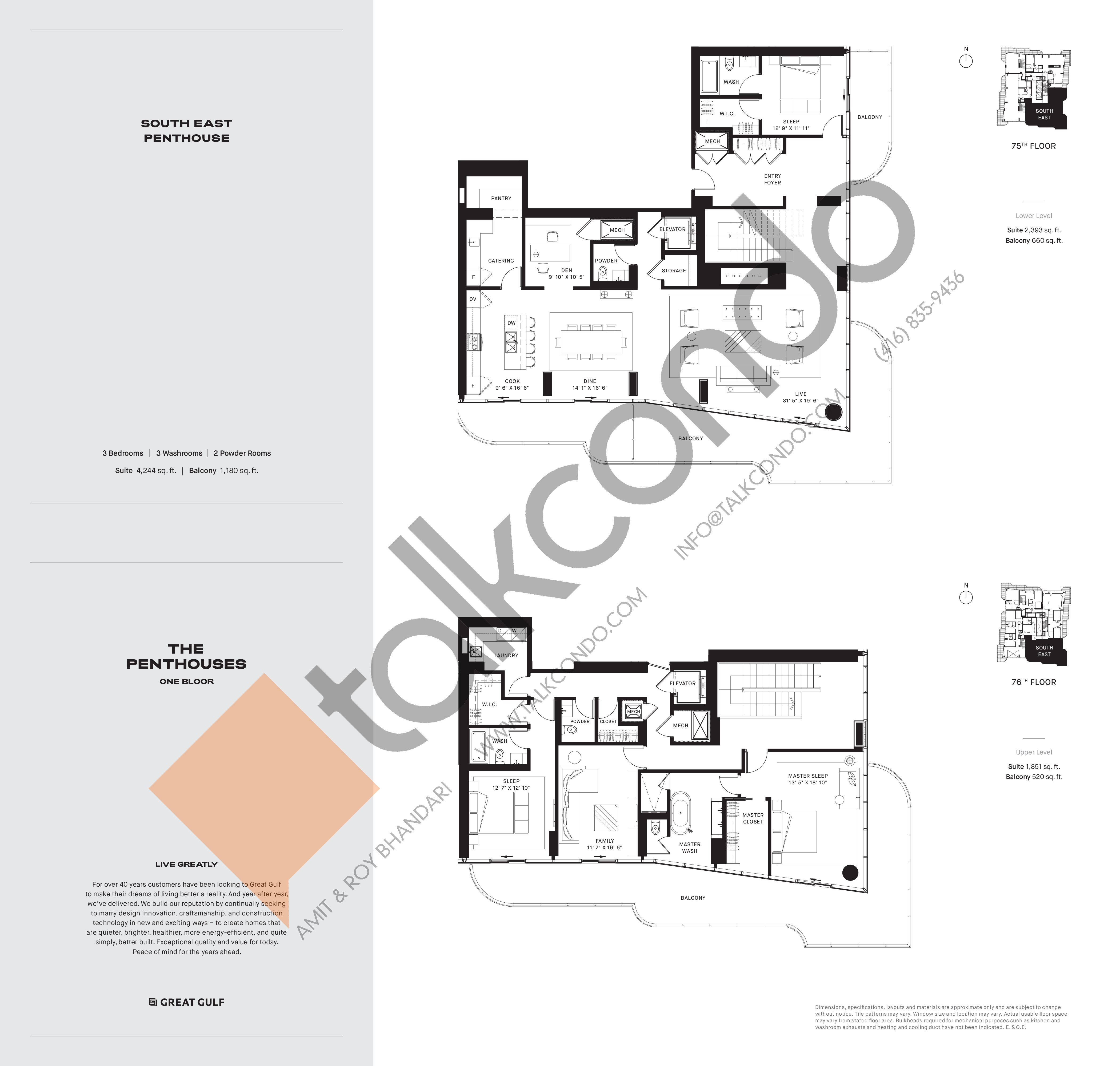 South East PH2 Floor Plan at One Bloor Condos - 4244 sq.ft
