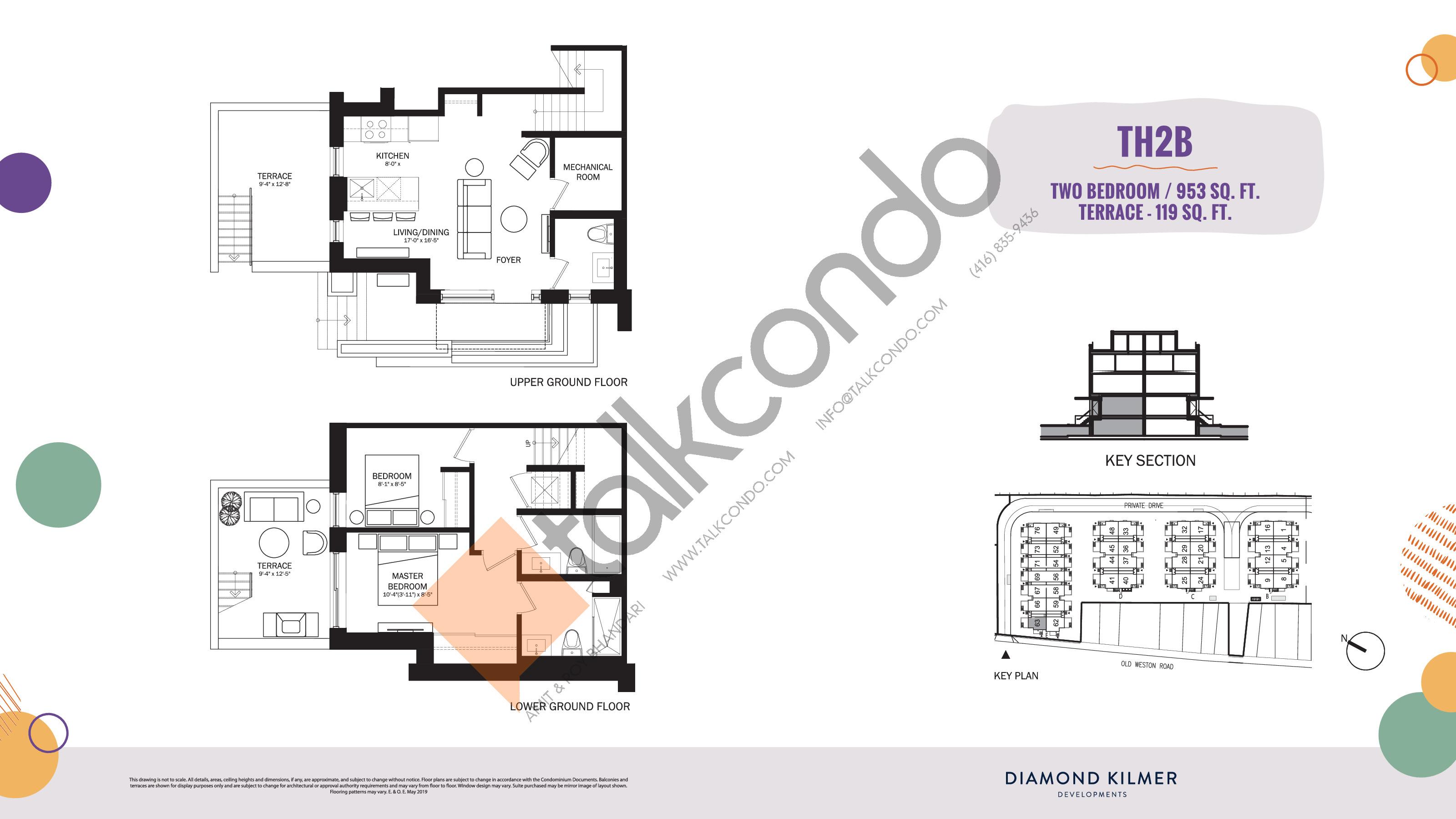 TH2B Floor Plan at Reunion Crossing Condos & Urban Towns - 953 sq.ft