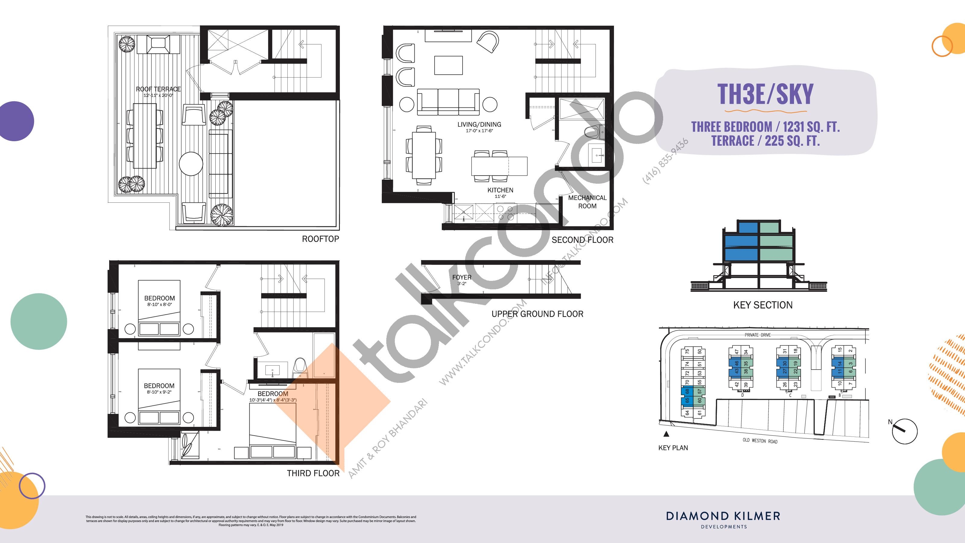TH3E/Sky Floor Plan at Reunion Crossing Condos & Urban Towns - 1231 sq.ft