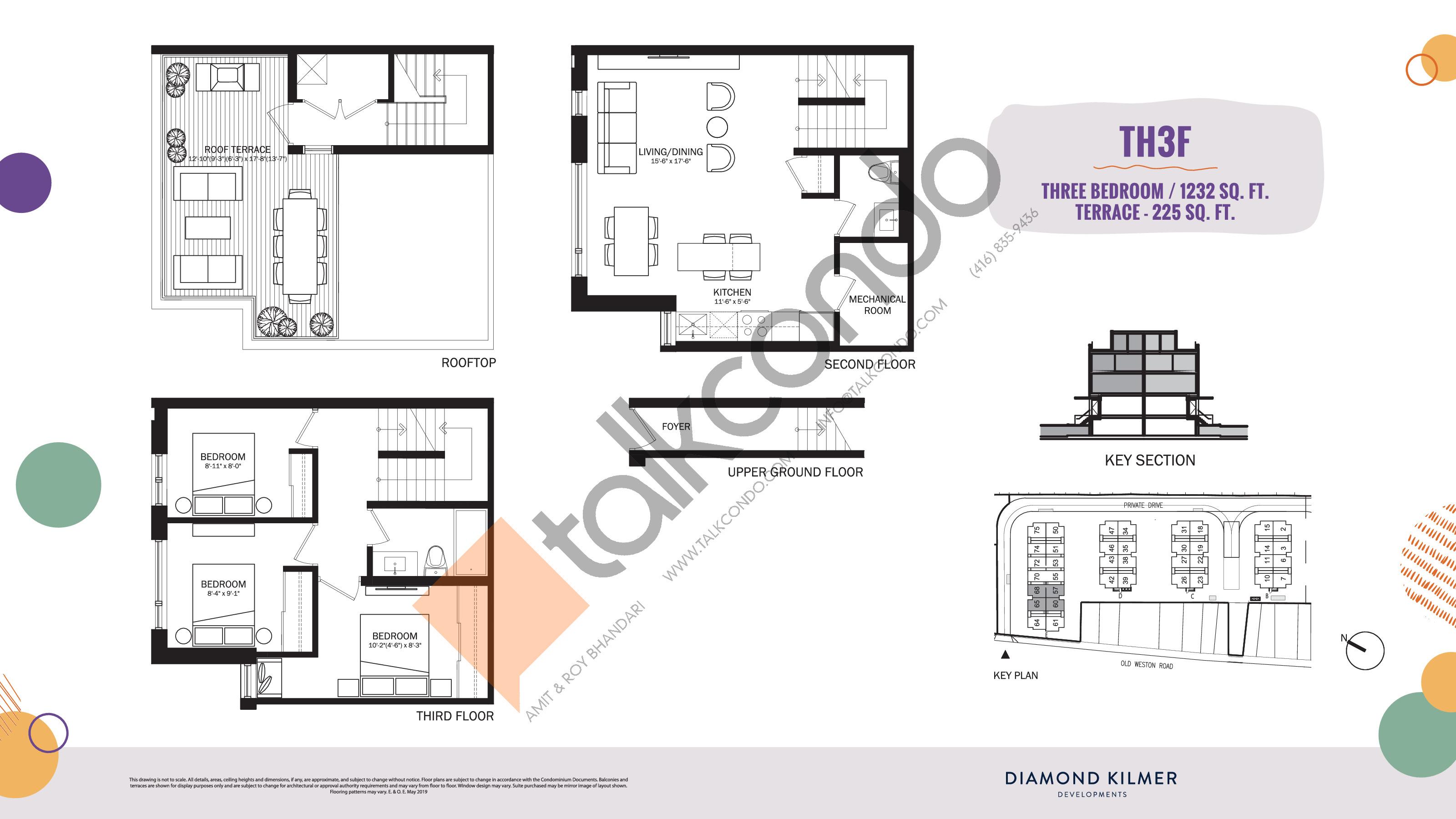 TH3F Floor Plan at Reunion Crossing Condos & Urban Towns - 1232 sq.ft