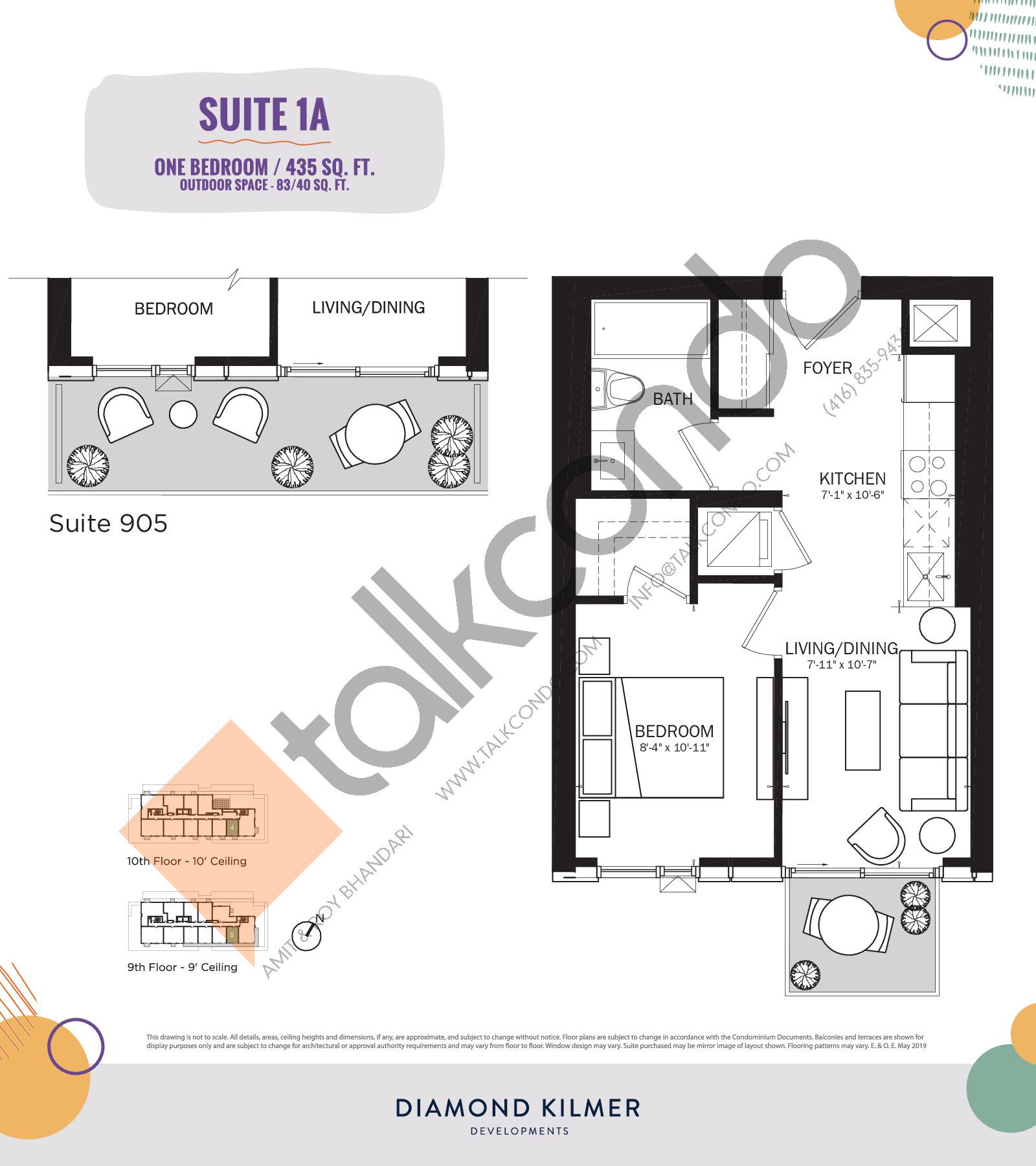1A Floor Plan at Reunion Crossing Condos & Urban Towns - 435 sq.ft