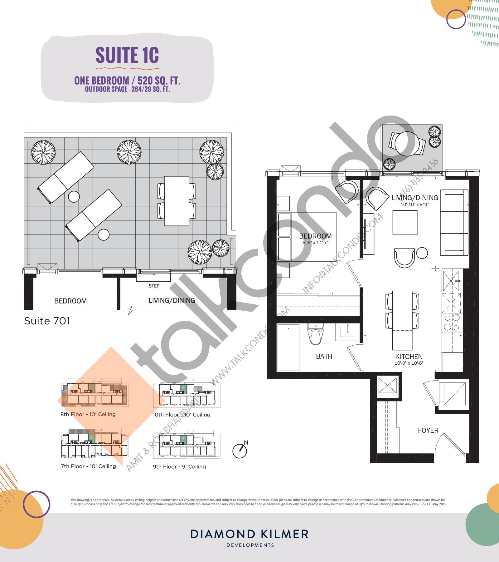 1C Floor Plan at Reunion Crossing Condos & Urban Towns - 520 sq.ft