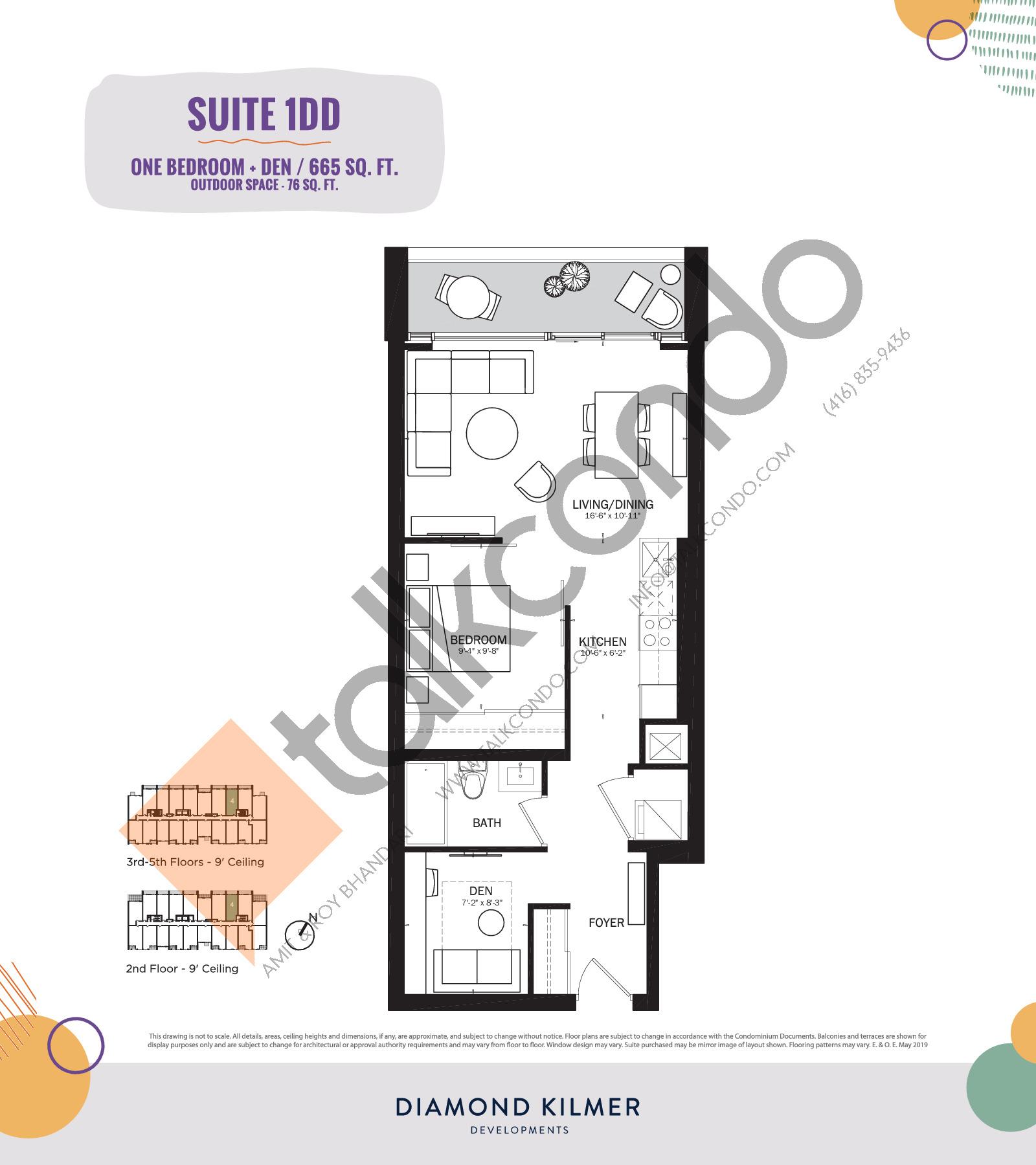 1DD Floor Plan at Reunion Crossing Condos & Urban Towns - 665 sq.ft