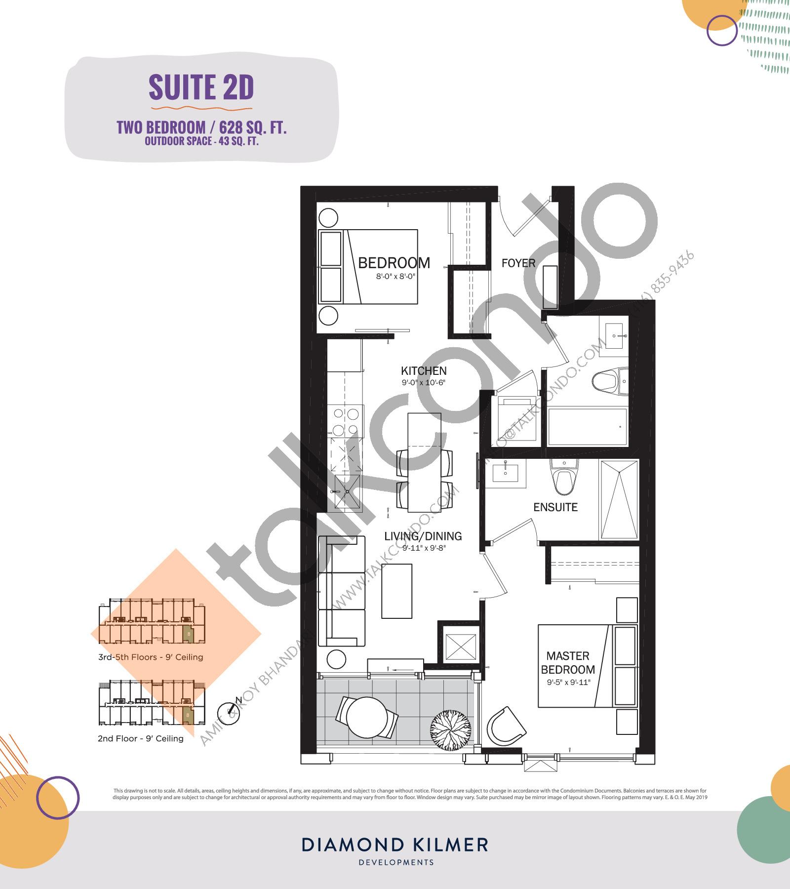 2D Floor Plan at Reunion Crossing Condos & Urban Towns - 628 sq.ft
