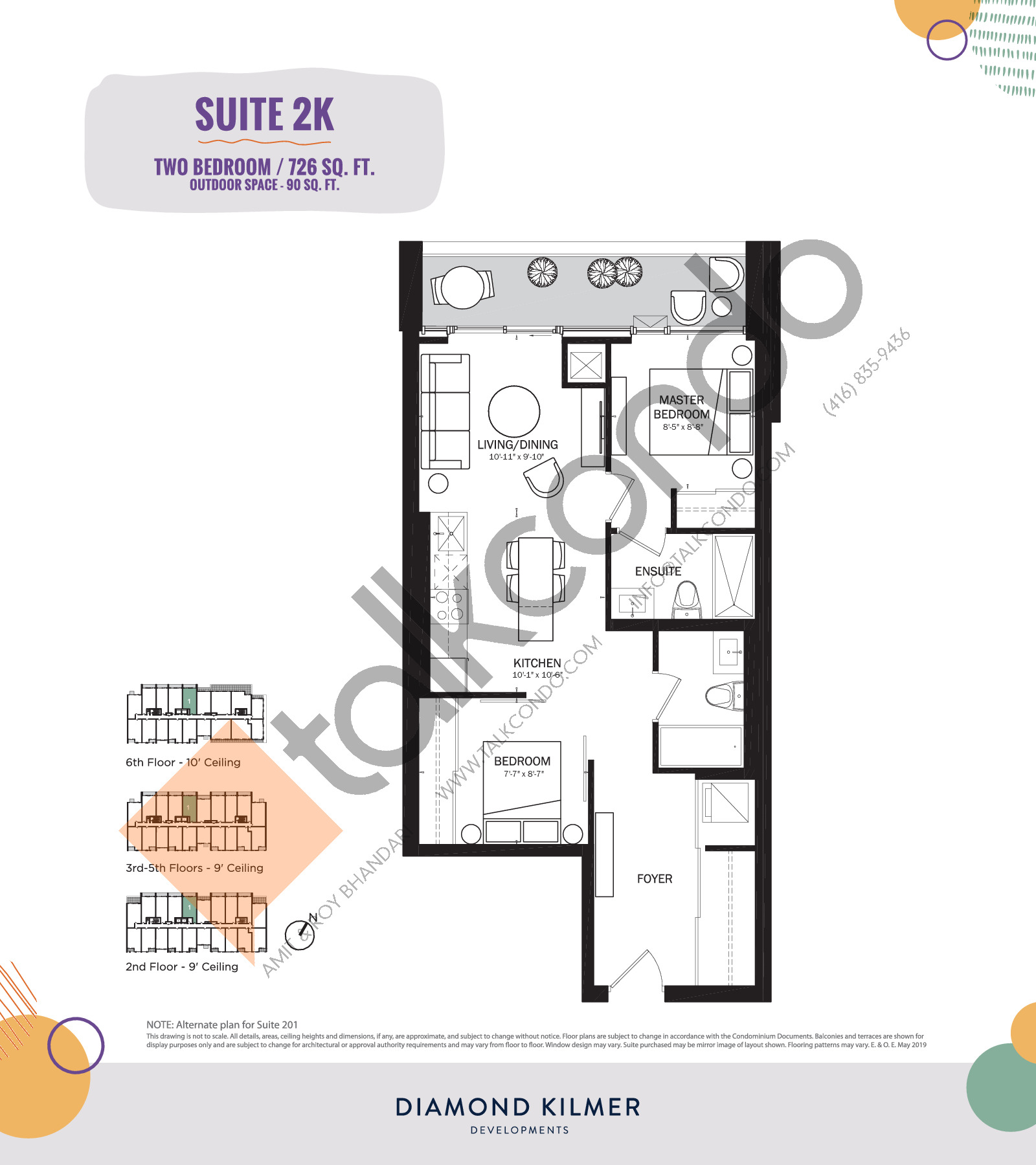 2K Floor Plan at Reunion Crossing Condos & Urban Towns - 726 sq.ft