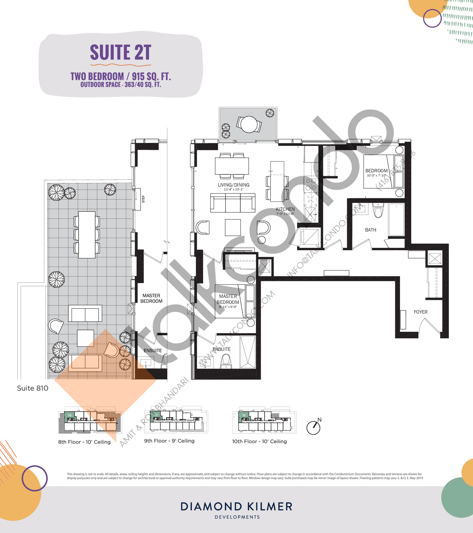 2T Floor Plan at Reunion Crossing Condos & Urban Towns - 915 sq.ft