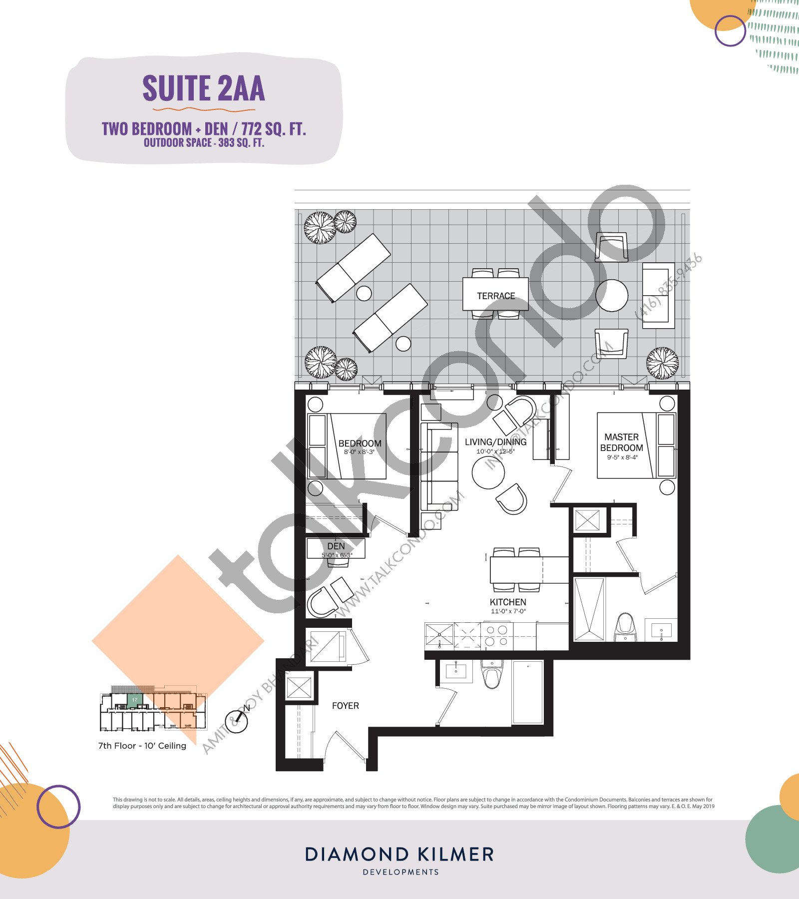 2AA Floor Plan at Reunion Crossing Condos & Urban Towns - 772 sq.ft