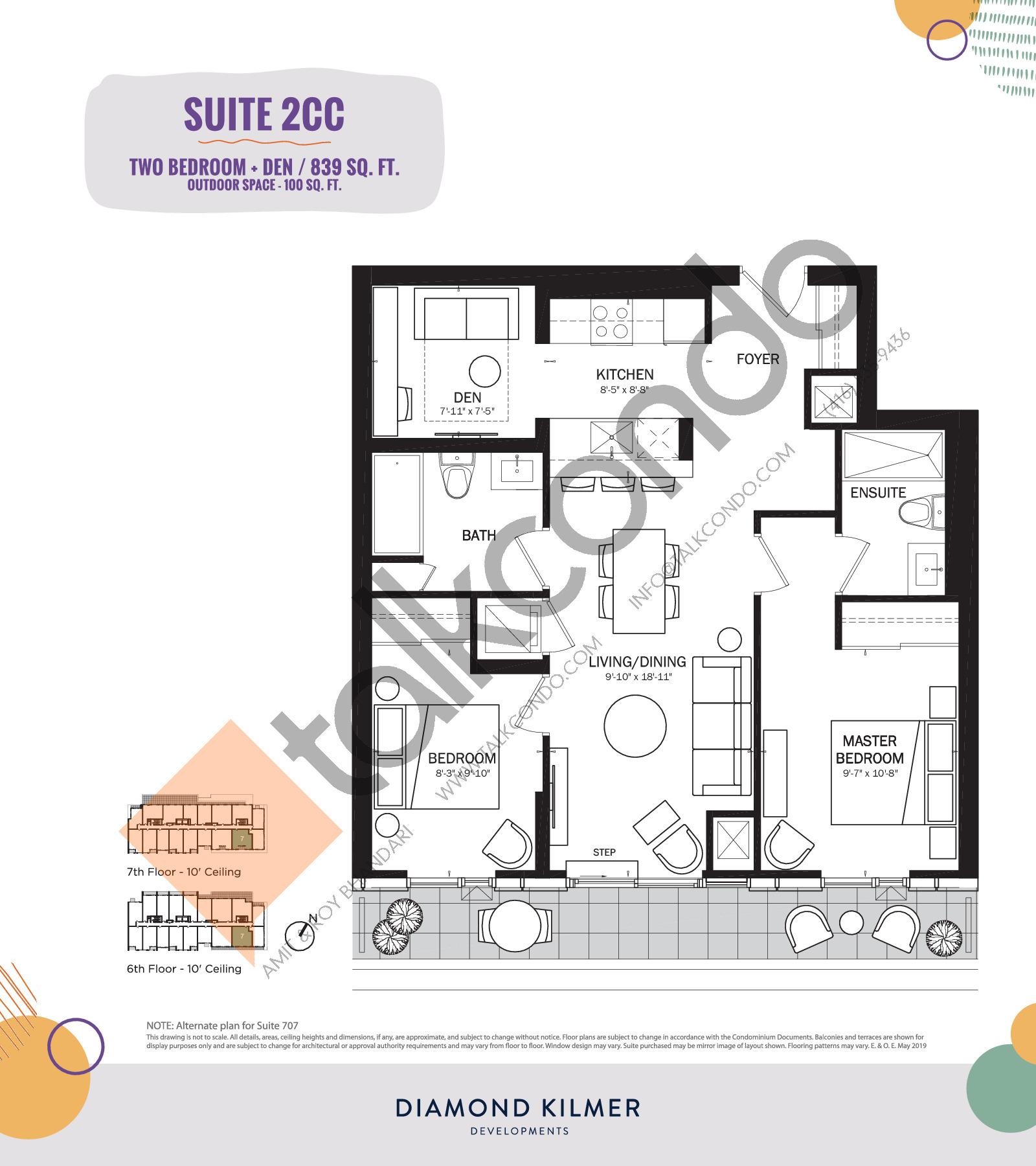 2CC Floor Plan at Reunion Crossing Condos & Urban Towns - 839 sq.ft