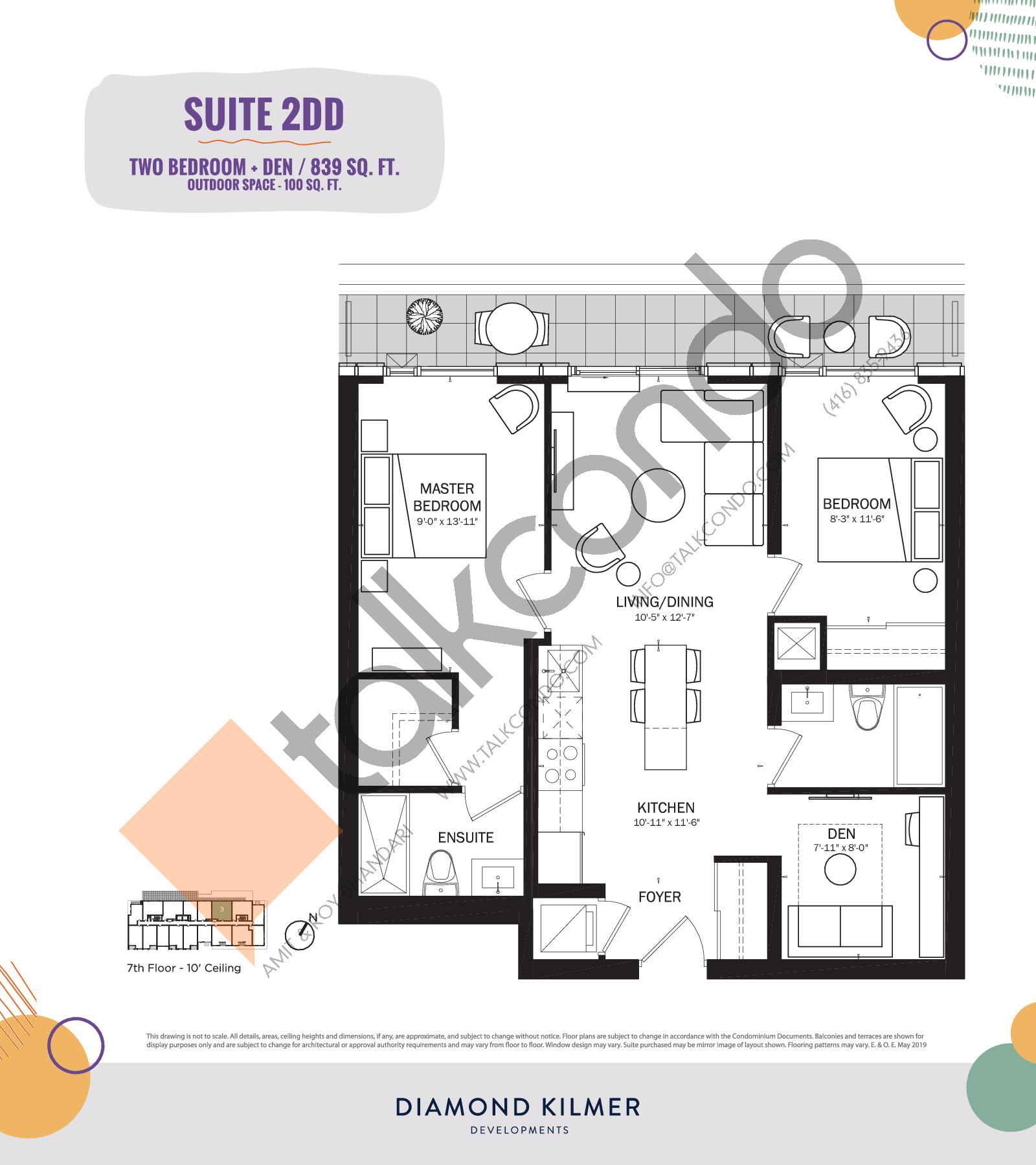 2DD Floor Plan at Reunion Crossing Condos & Urban Towns - 839 sq.ft