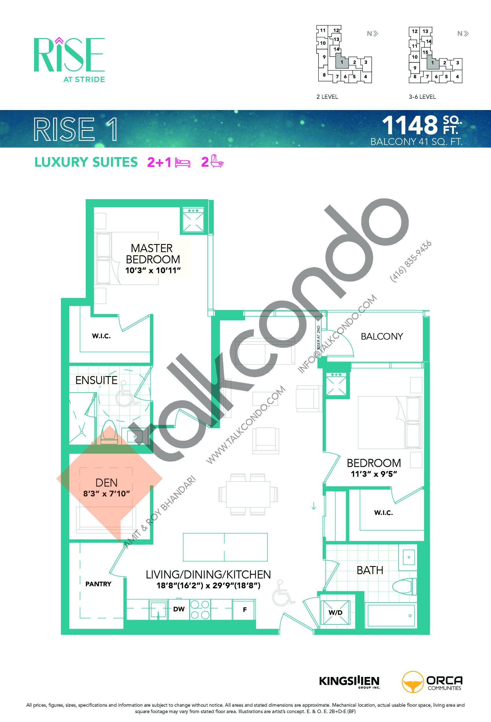 Rise 1 Floor Plan at Rise at Stride Condos - 1148 sq.ft
