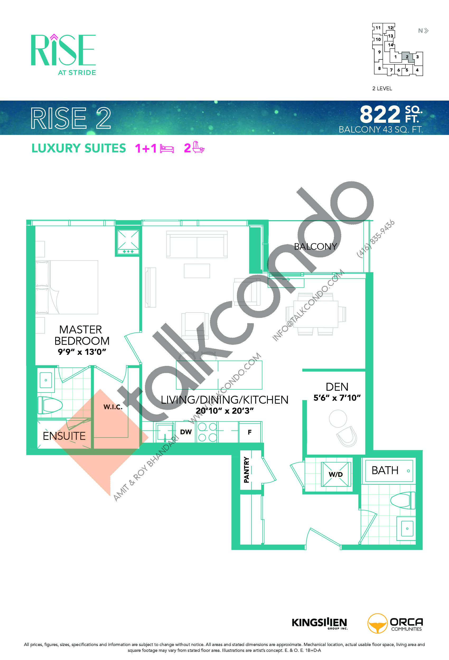Rise 2 Floor Plan at Rise at Stride Condos - 822 sq.ft