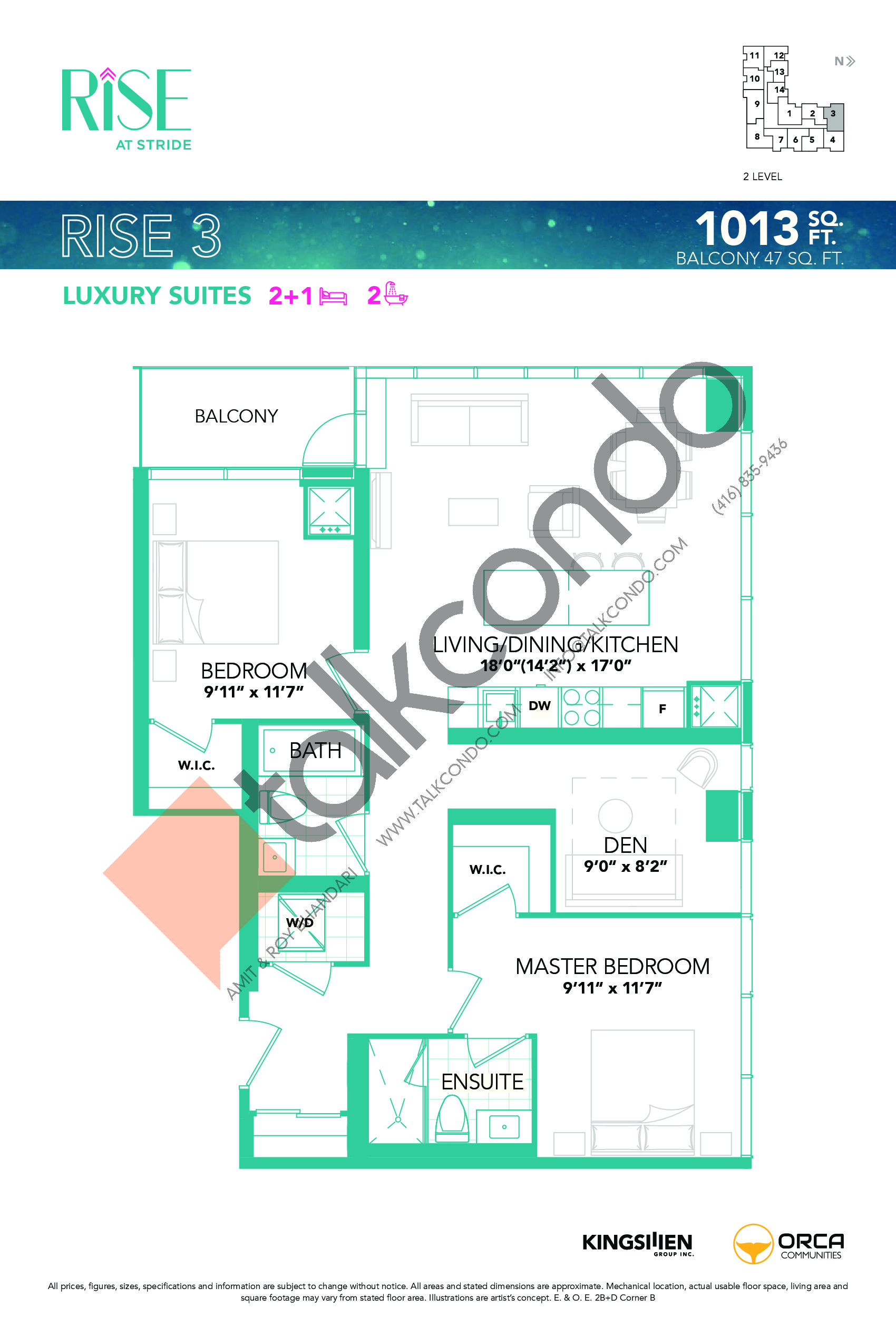 Rise 3 Floor Plan at Rise at Stride Condos - 1013 sq.ft