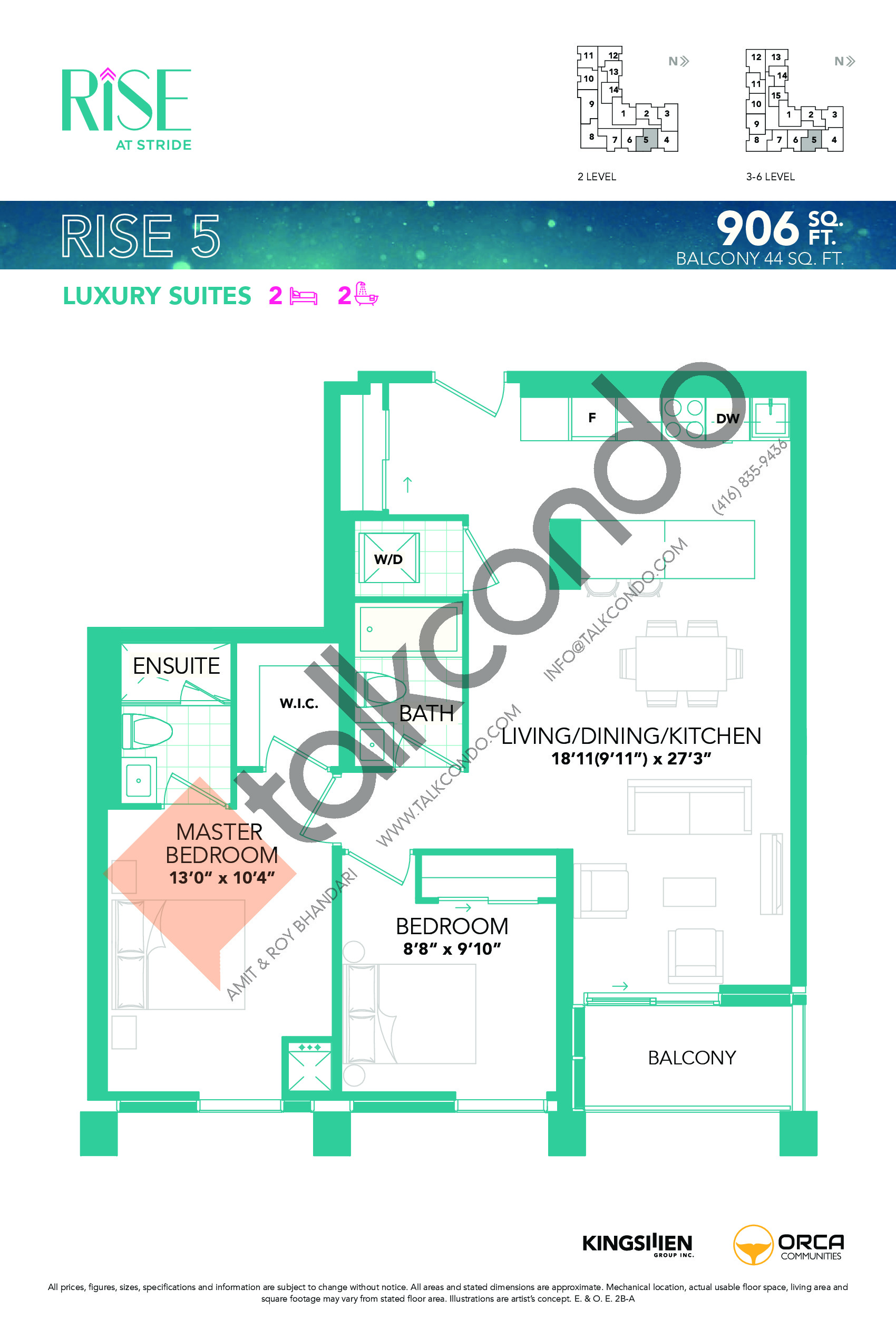 Rise 5 Floor Plan at Rise at Stride Condos - 906 sq.ft