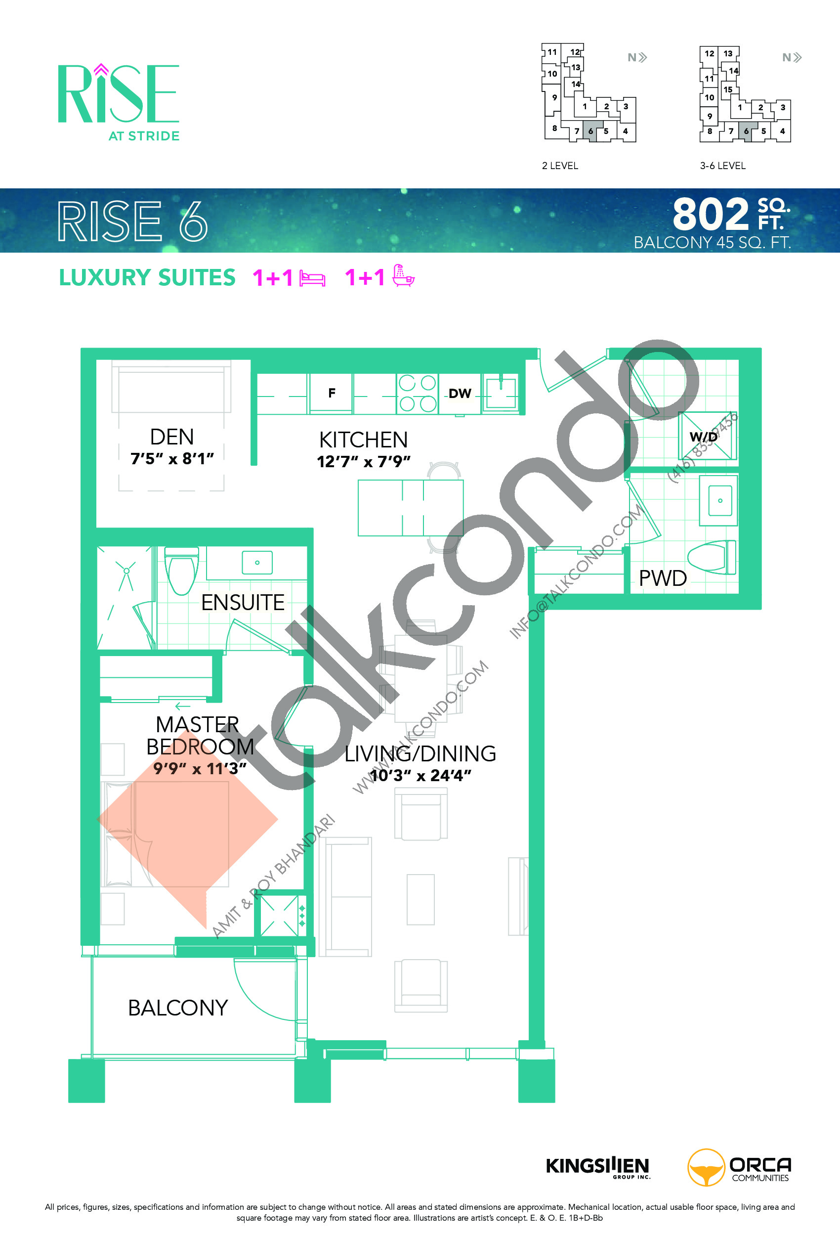 Rise 6 Floor Plan at Rise at Stride Condos - 802 sq.ft