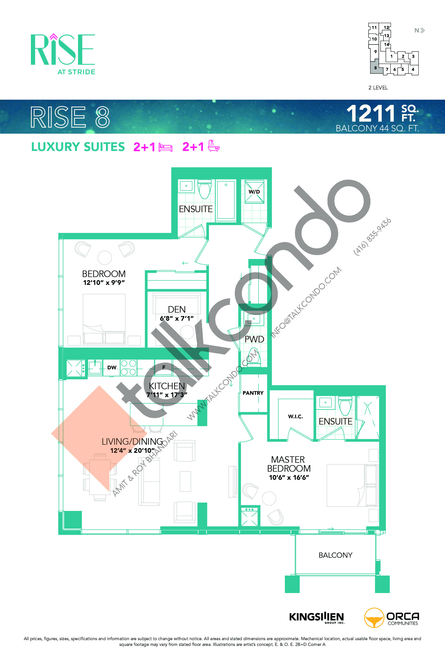 Rise 8 Floor Plan at Rise at Stride Condos - 1211 sq.ft