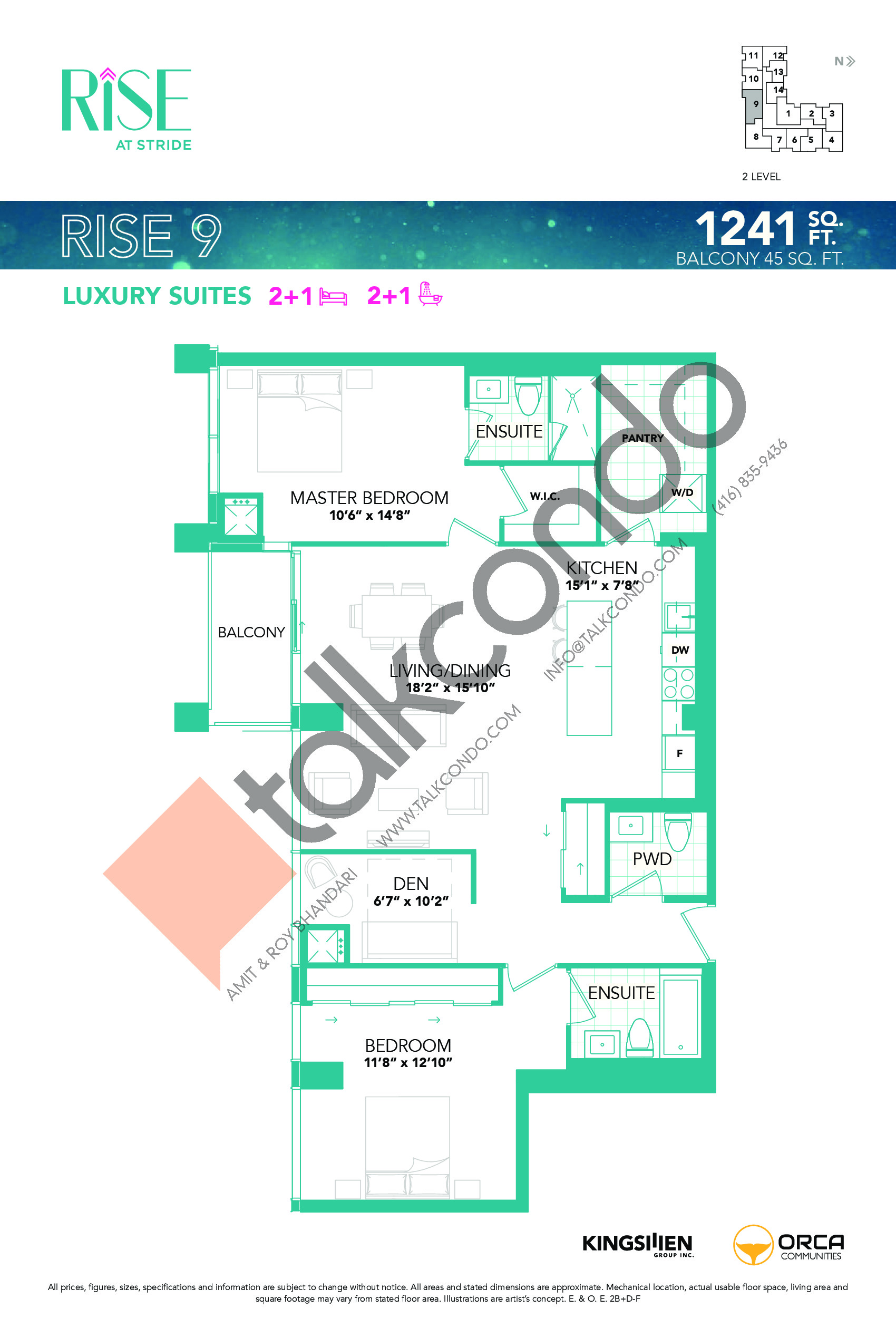 Rise 9 Floor Plan at Rise at Stride Condos - 1241 sq.ft