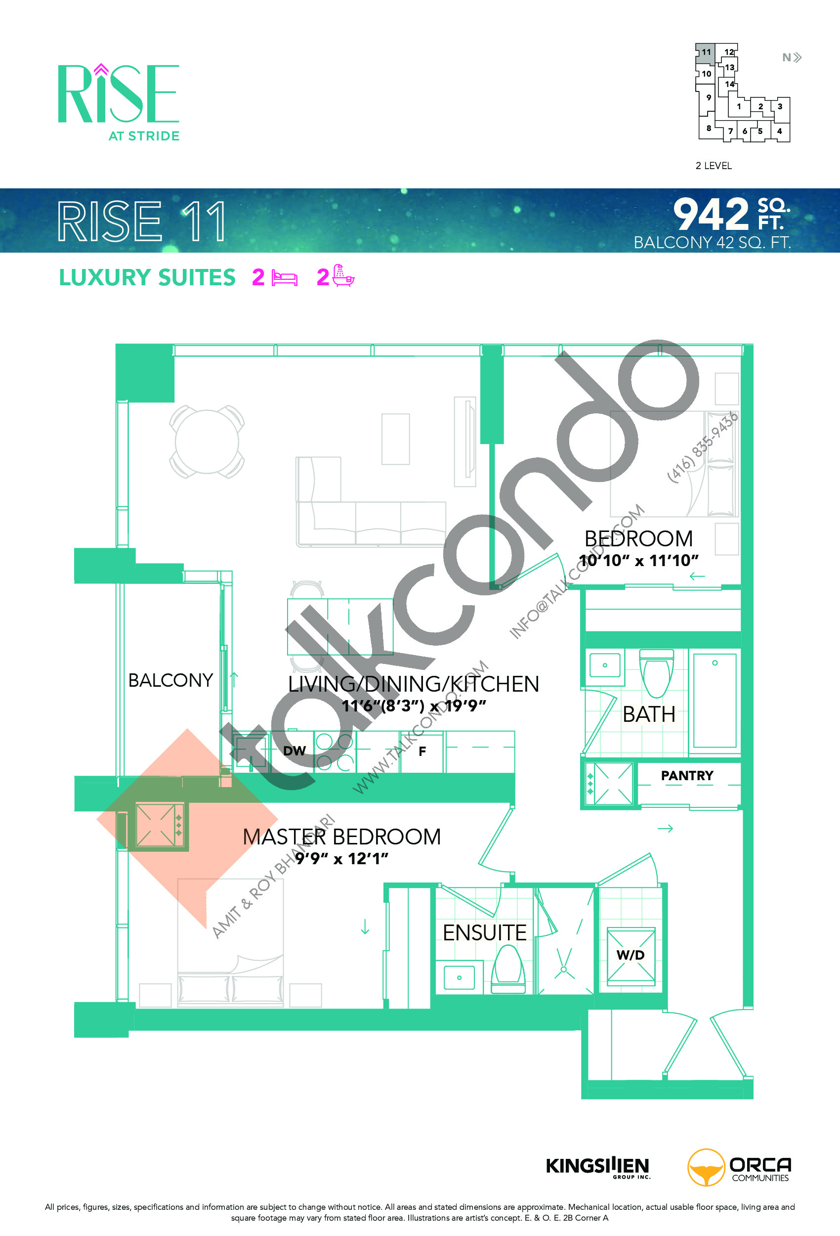 Rise 11 Floor Plan at Rise at Stride Condos - 942 sq.ft