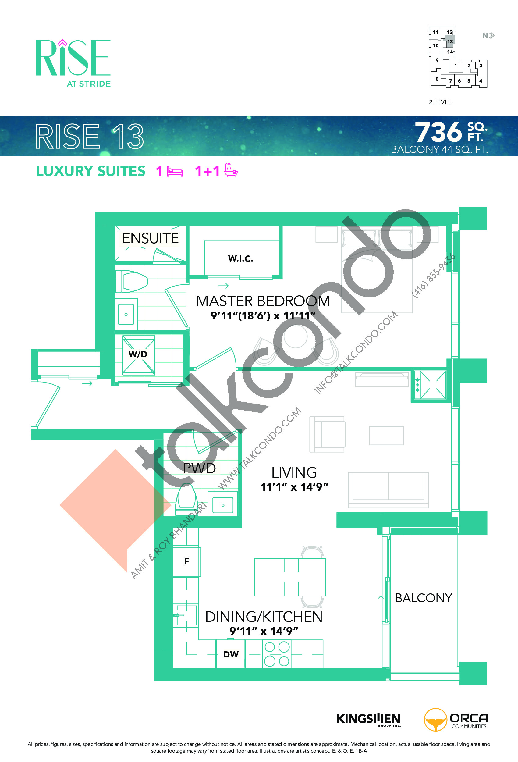 Rise 13 Floor Plan at Rise at Stride Condos - 736 sq.ft