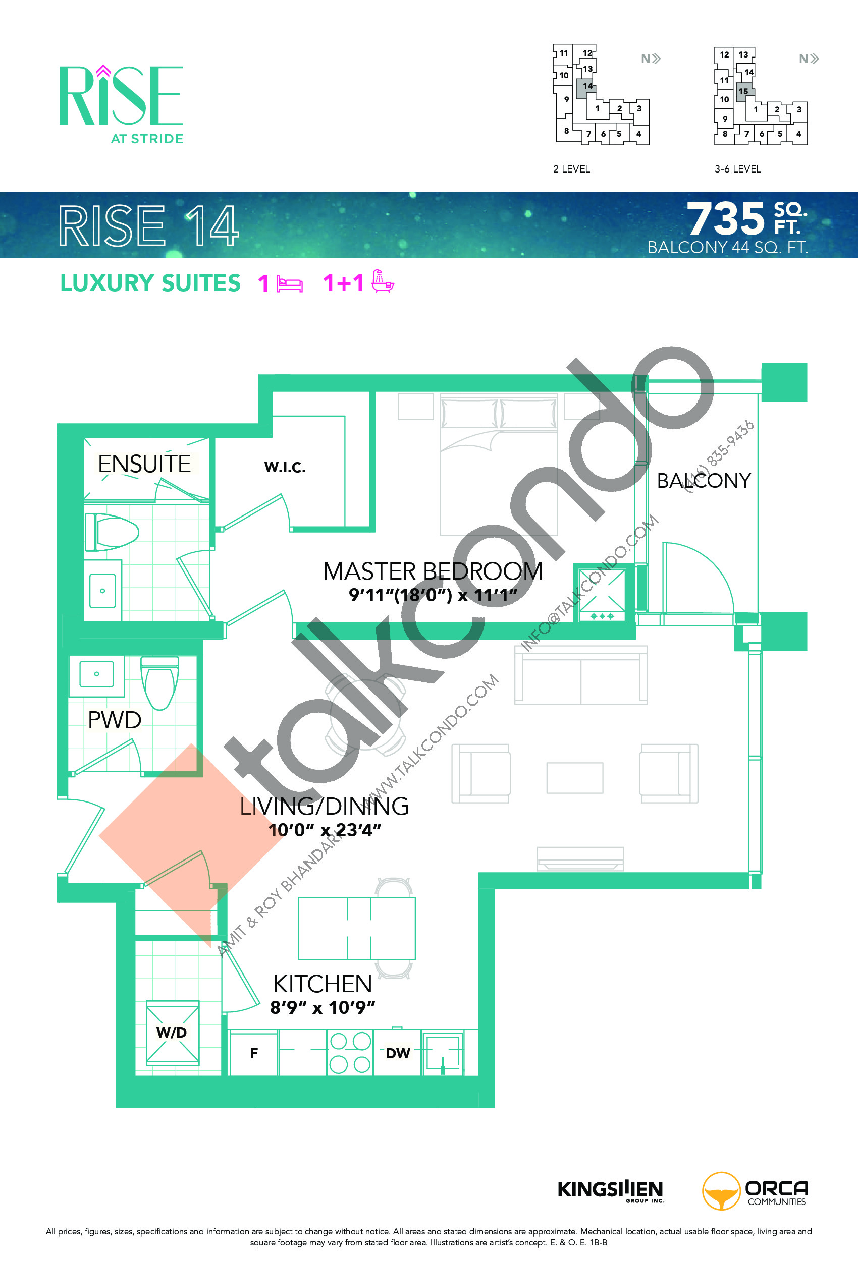 Rise 14 Floor Plan at Rise at Stride Condos - 735 sq.ft