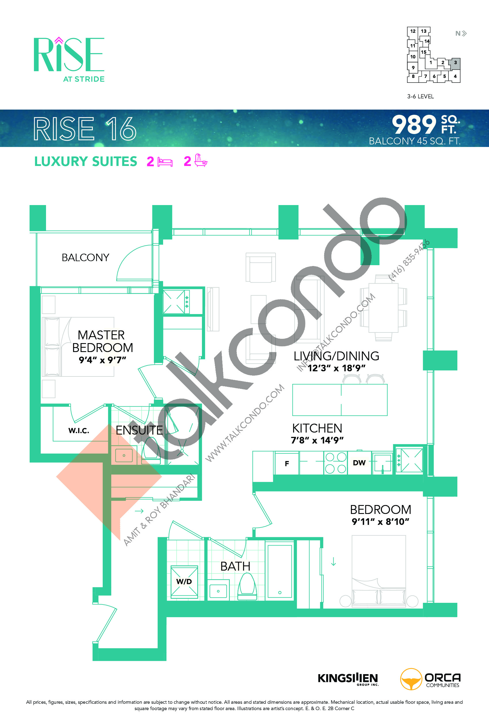 Rise 16 Floor Plan at Rise at Stride Condos - 989 sq.ft