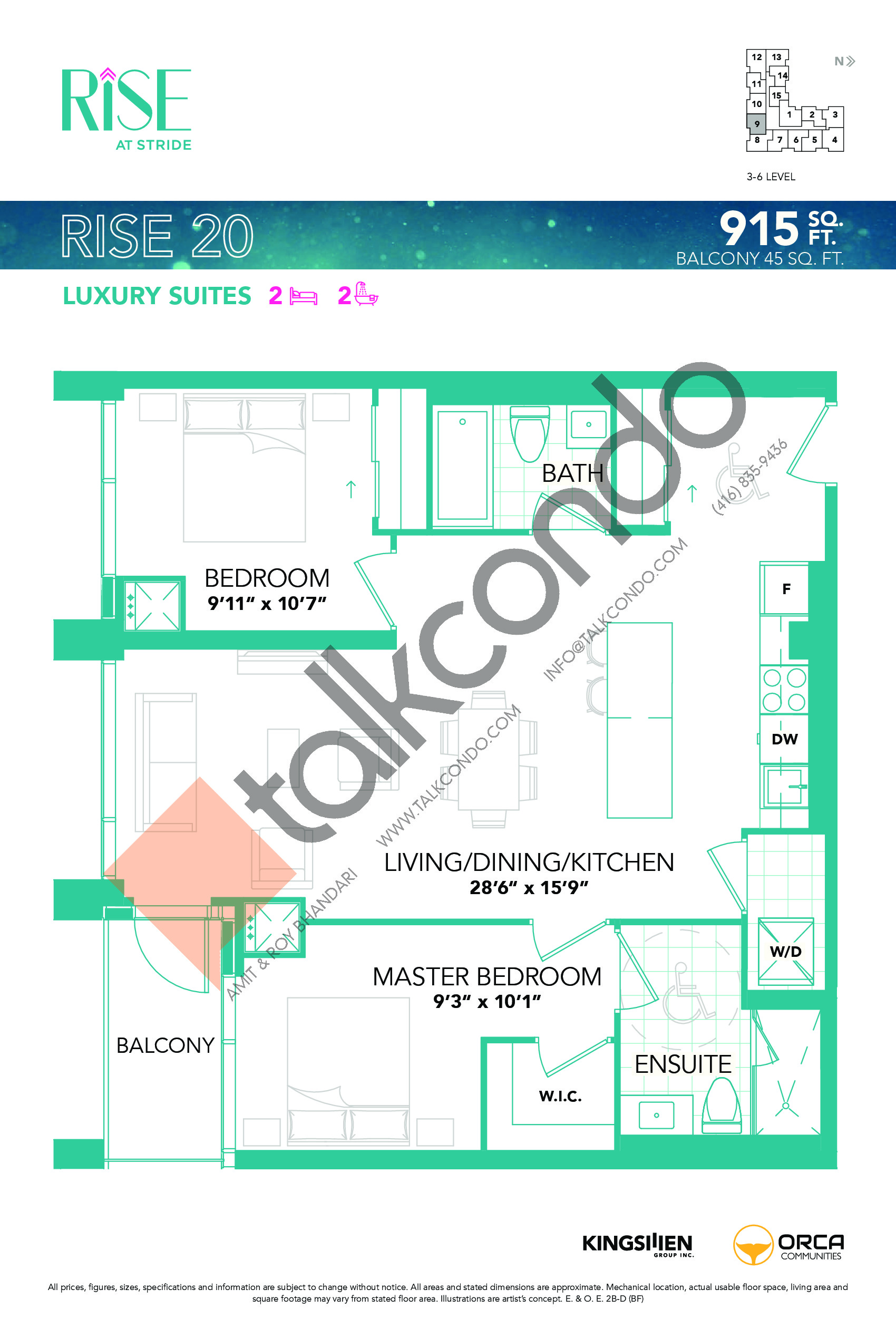 Rise 20 Floor Plan at Rise at Stride Condos - 915 sq.ft