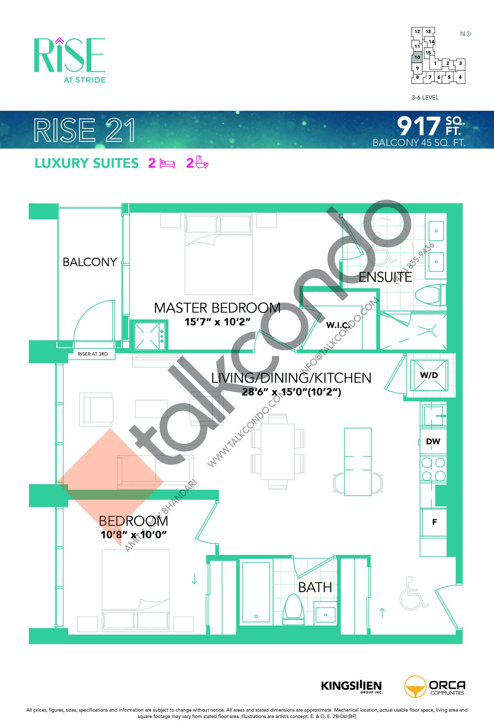 Rise 21 Floor Plan at Rise at Stride Condos - 917 sq.ft