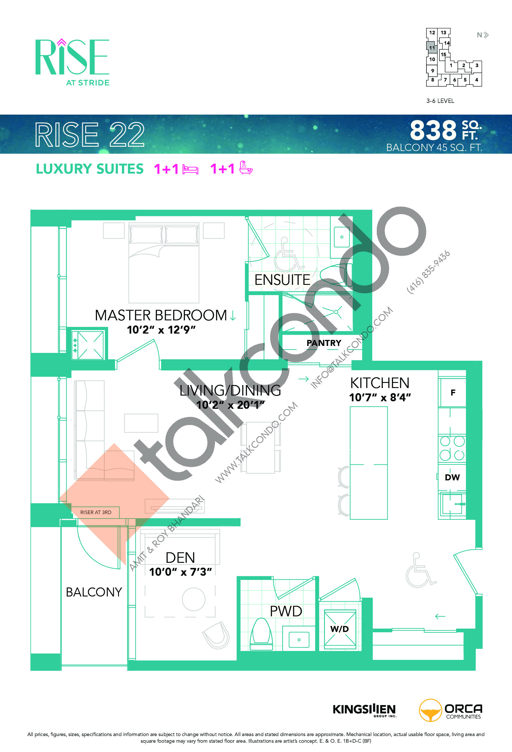 Rise 22 Floor Plan at Rise at Stride Condos - 838 sq.ft