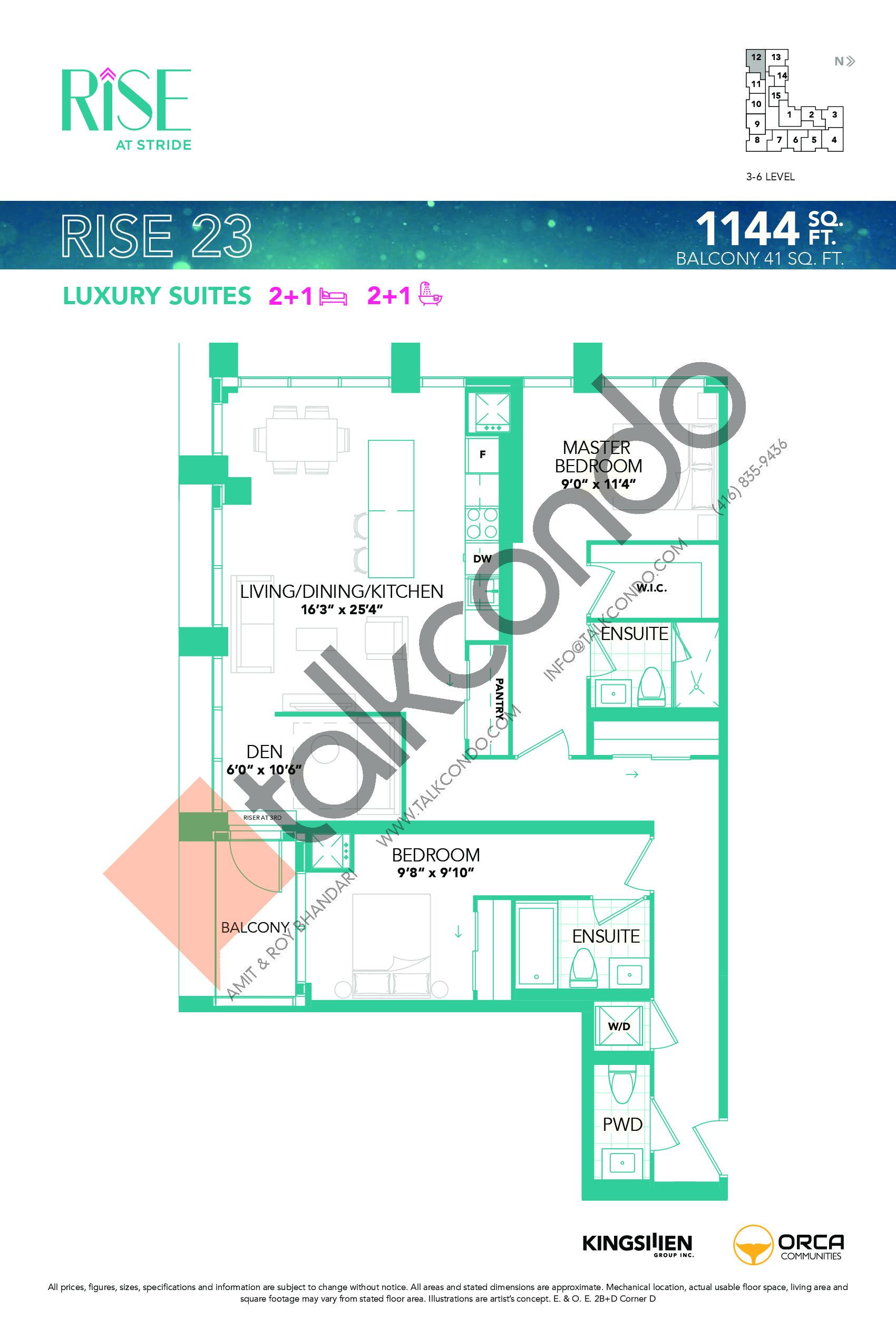 Rise 23 Floor Plan at Rise at Stride Condos - 1144 sq.ft