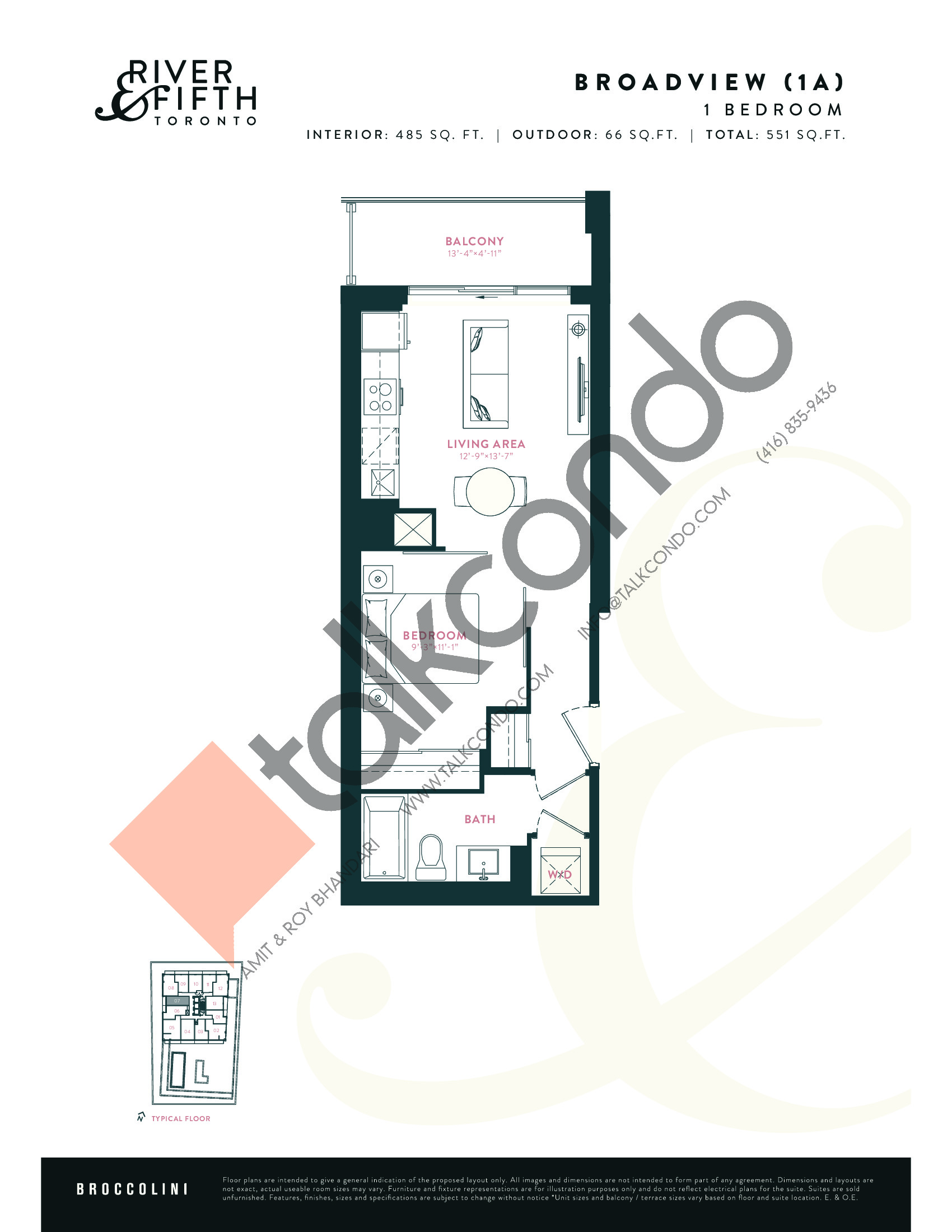Broadview (1A) Floor Plan at River & Fifth Condos - 485 sq.ft