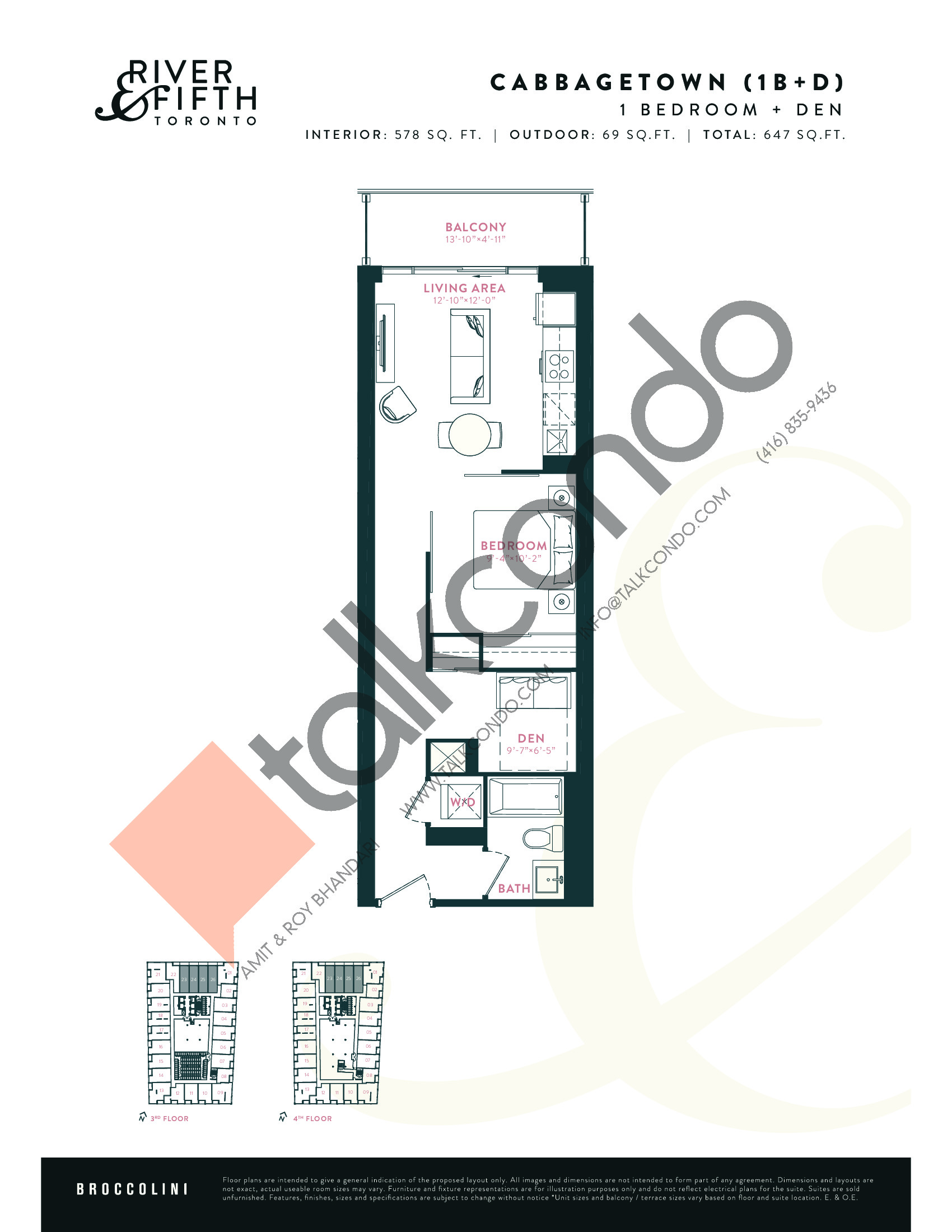 Cabbagetown (1B+D) Floor Plan at River & Fifth Condos - 578 sq.ft