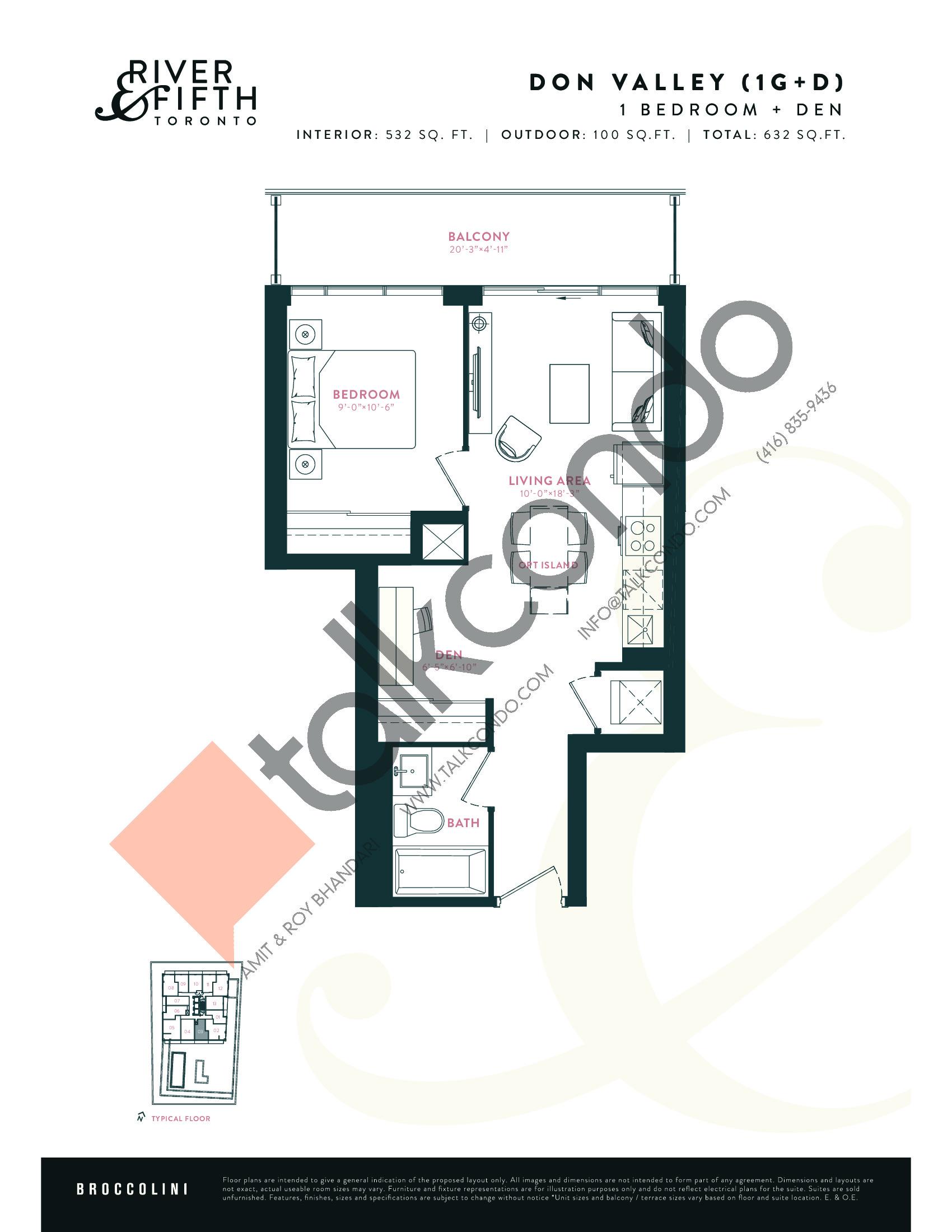 Don Valley (1G+D) Floor Plan at River & Fifth Condos - 532 sq.ft