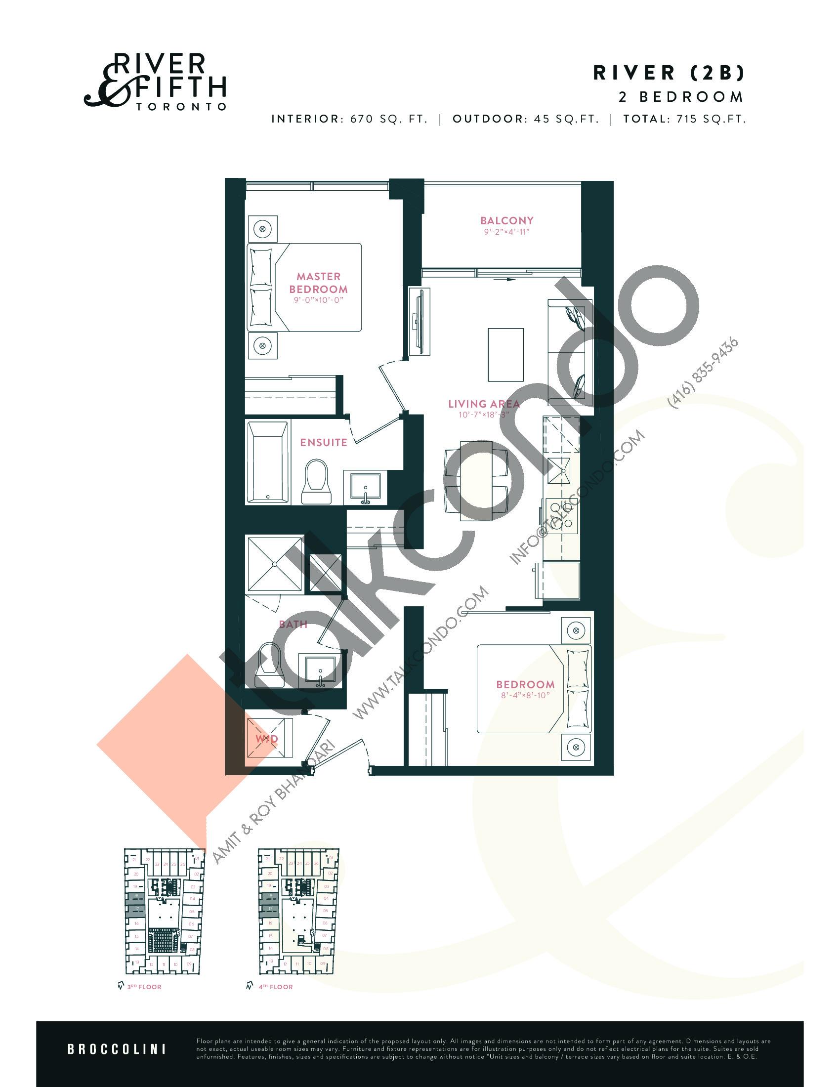 River (2B) Floor Plan at River & Fifth Condos - 670 sq.ft
