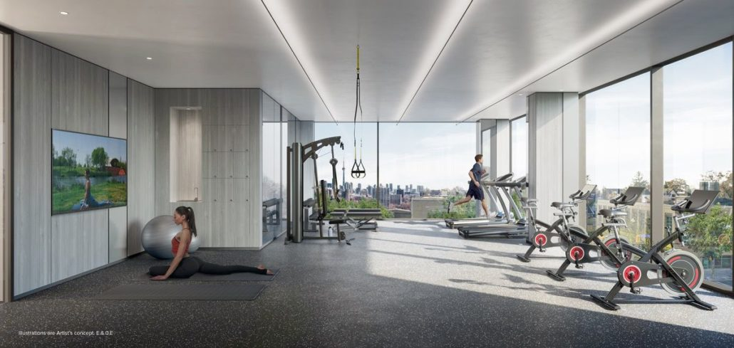 gym rendering at st clair village condos at 900 st clair west